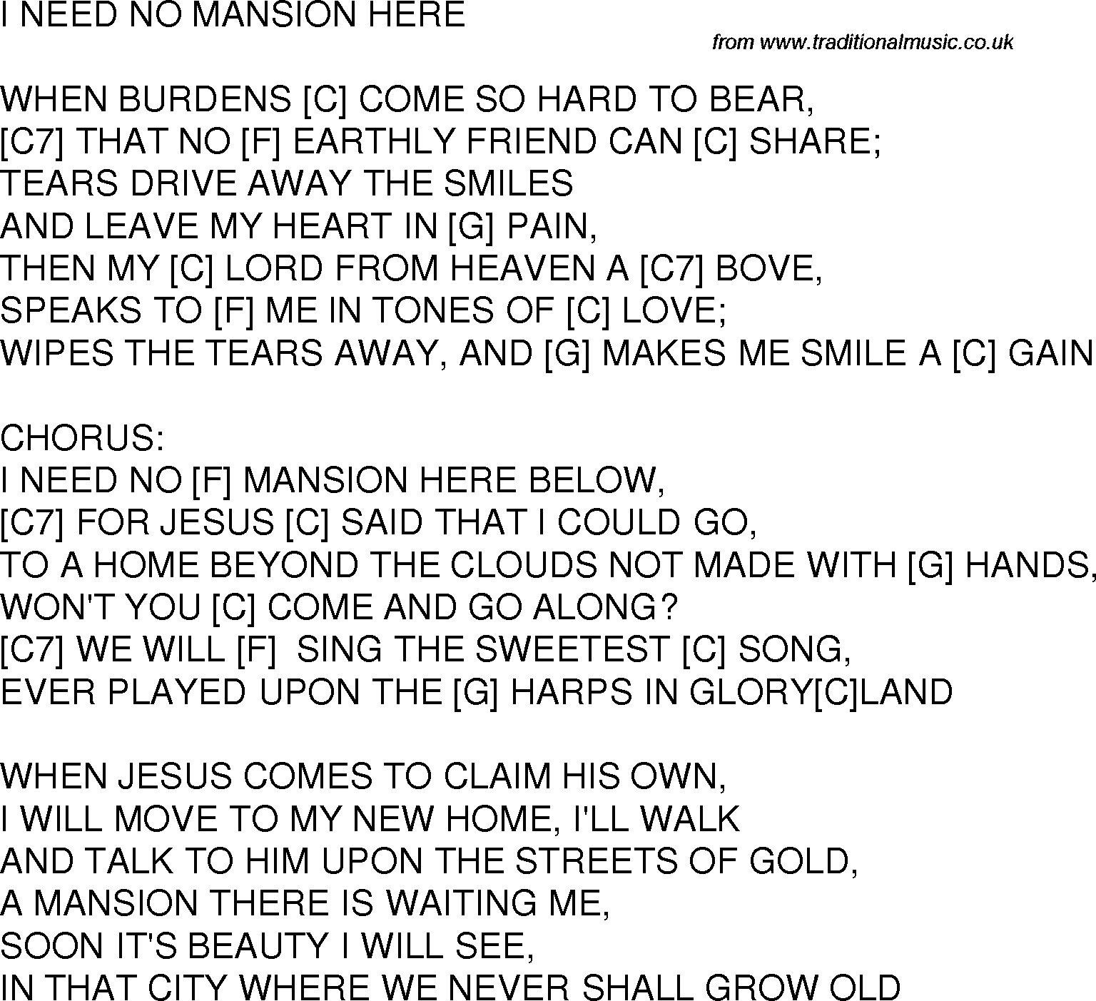 Old Time Song Lyrics With Guitar Chords For I Need No Mansion Here C