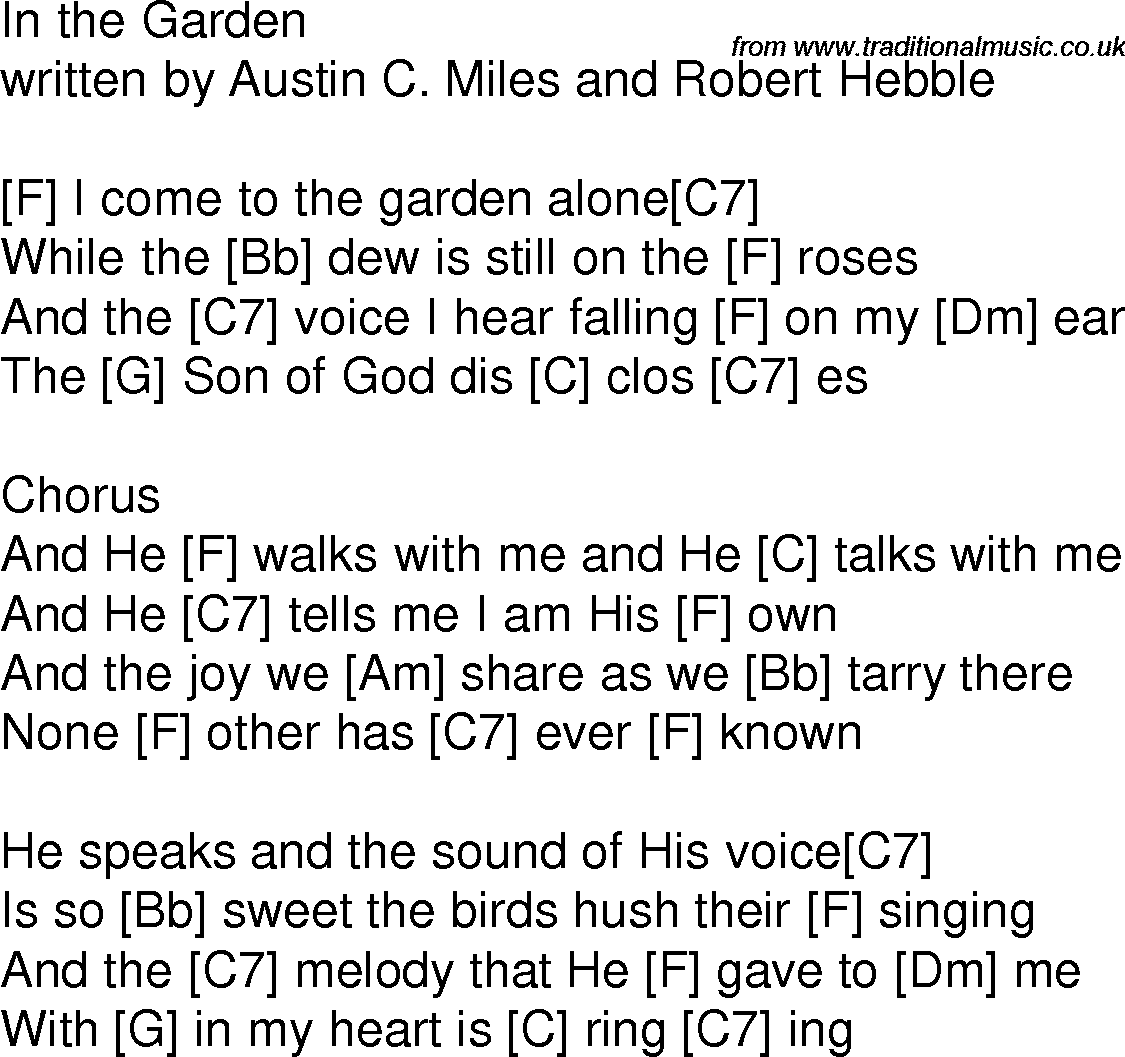 Old Time Song Lyrics With Guitar Chords For In The Garden F