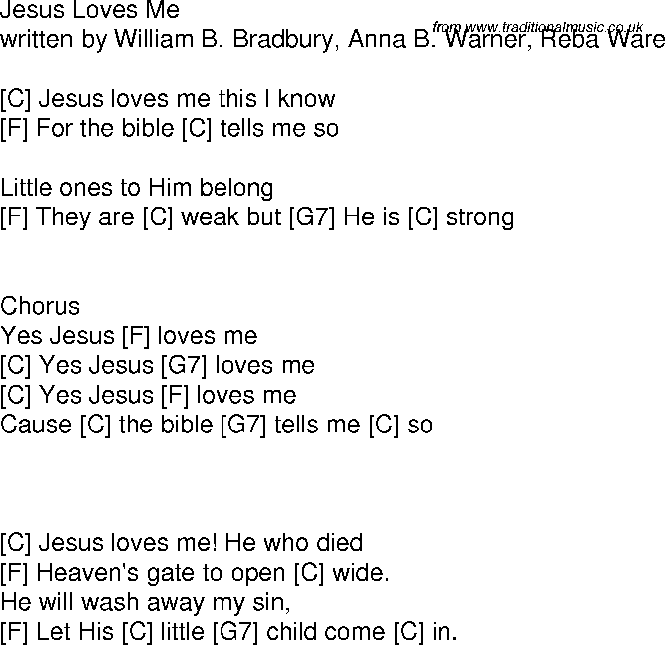 Old Time Song Lyrics With Guitar Chords For Jesus Loves Me C