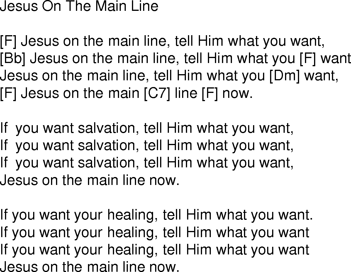 Old time song lyrics with guitar chords for jesus on the main line f old time song lyrics with chords for jesus on the main line f hexwebz Image collections