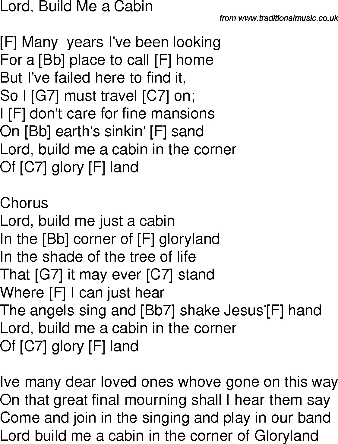 Old time song lyrics with guitar chords for lord build me a cabin f old time song lyrics with chords for lord build me a cabin f hexwebz Gallery