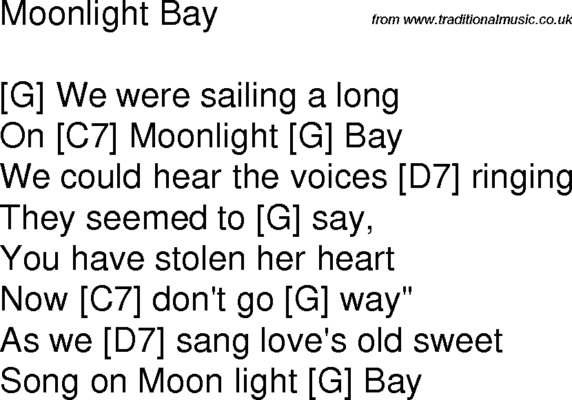 Old Time Song Lyrics With Guitar Chords For Moonlight Bay G
