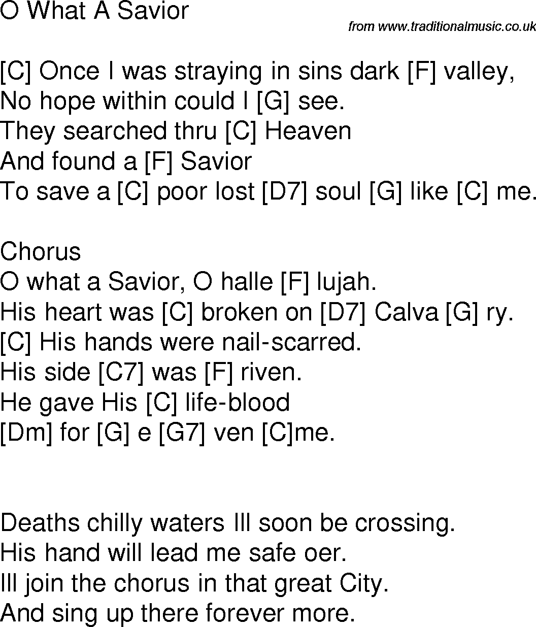 Old Time Song Lyrics With Guitar Chords For O What A Savior C