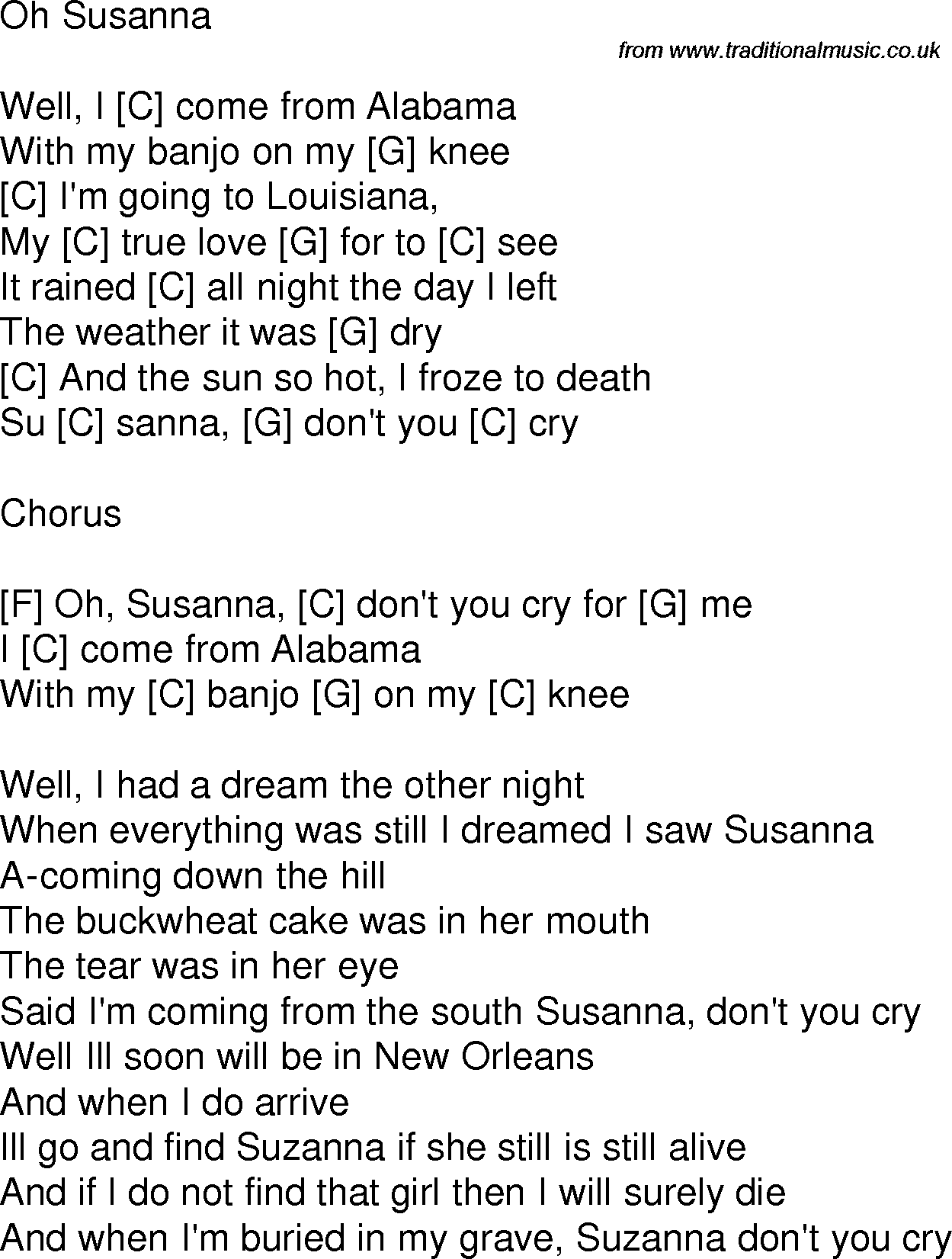 Old Time Song Lyrics With Guitar Chords For Oh Susanna C