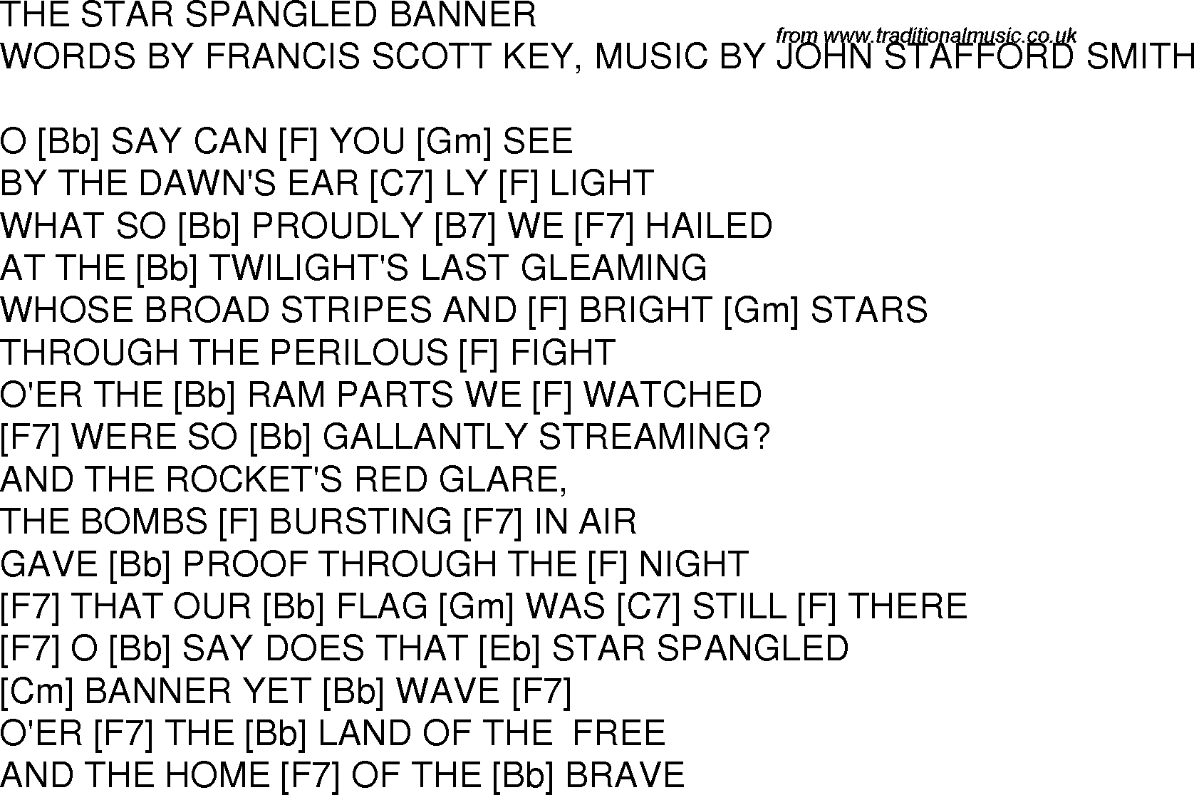 Old time song lyrics with guitar chords for Star Spangled ...