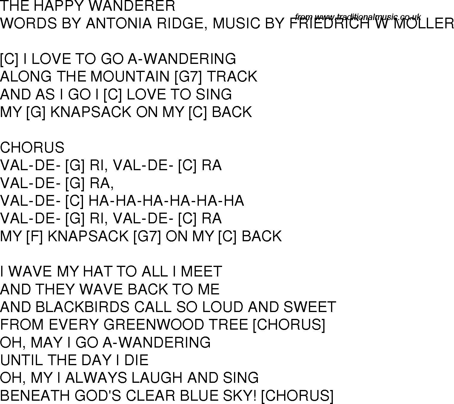 Old time song lyrics with guitar chords for The Happy Wanderer C