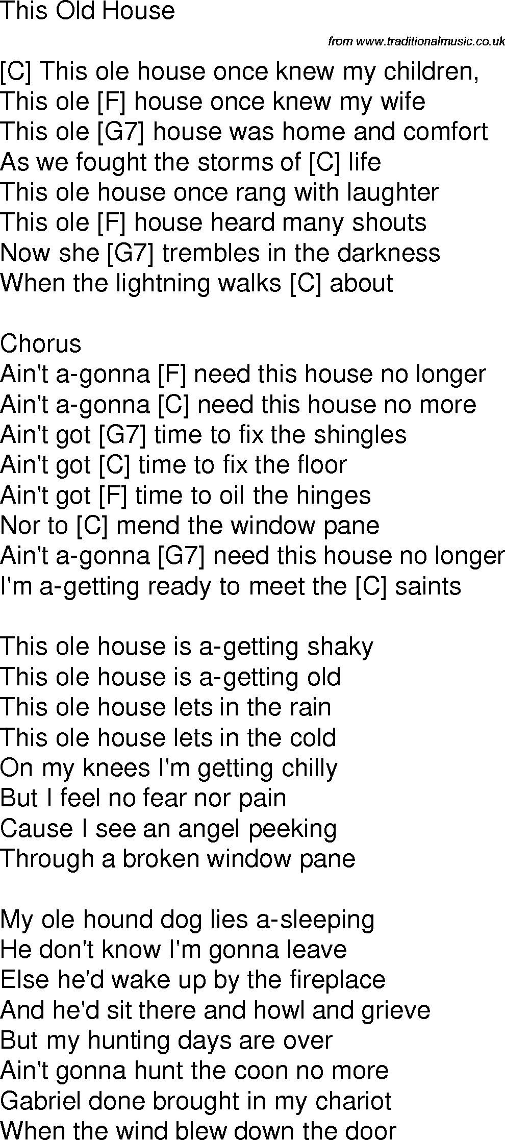 Old time song lyrics with guitar chords for this old house c for Classic house music songs
