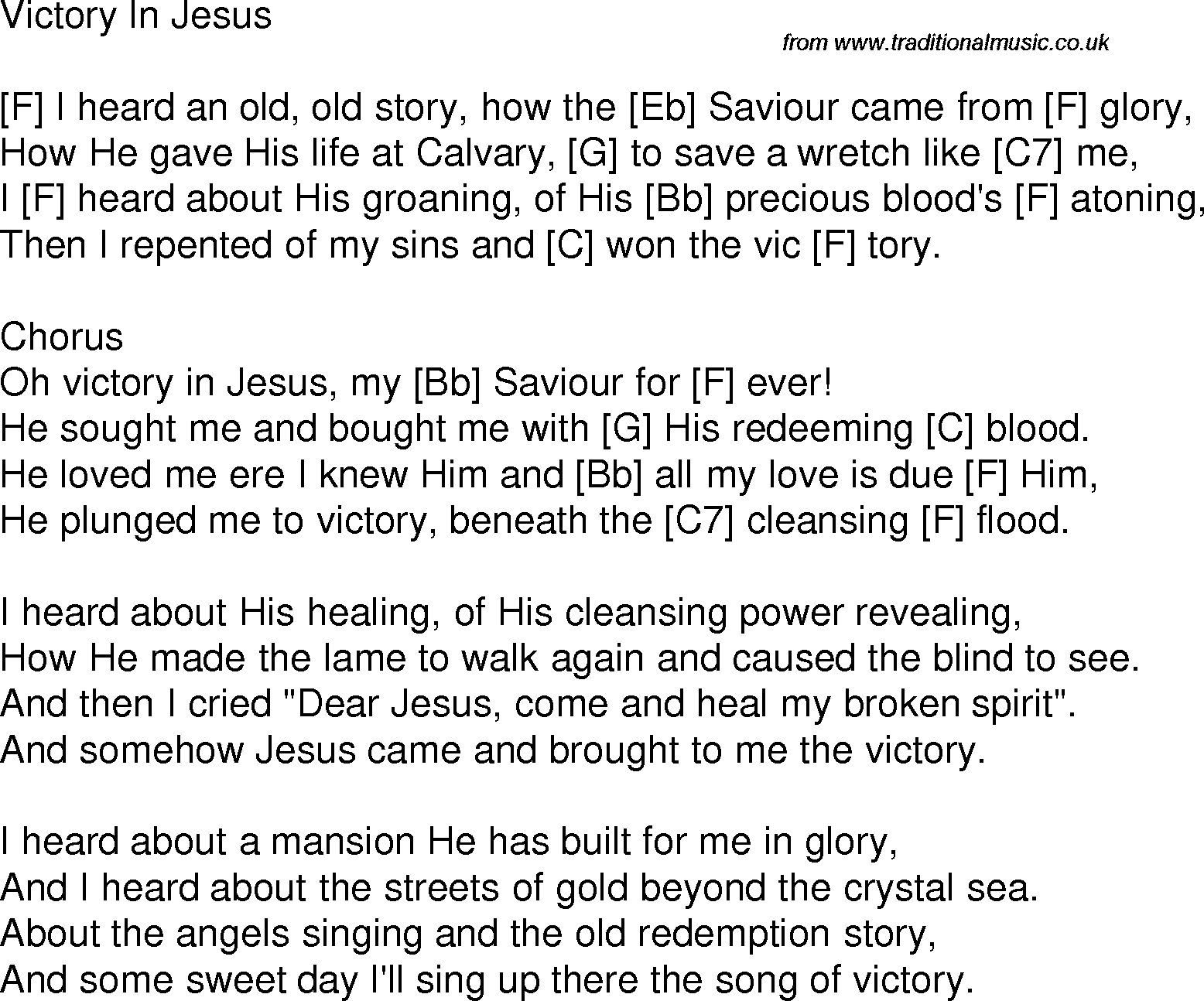 Old Time Song Lyrics With Guitar Chords For Victory In Jesus D