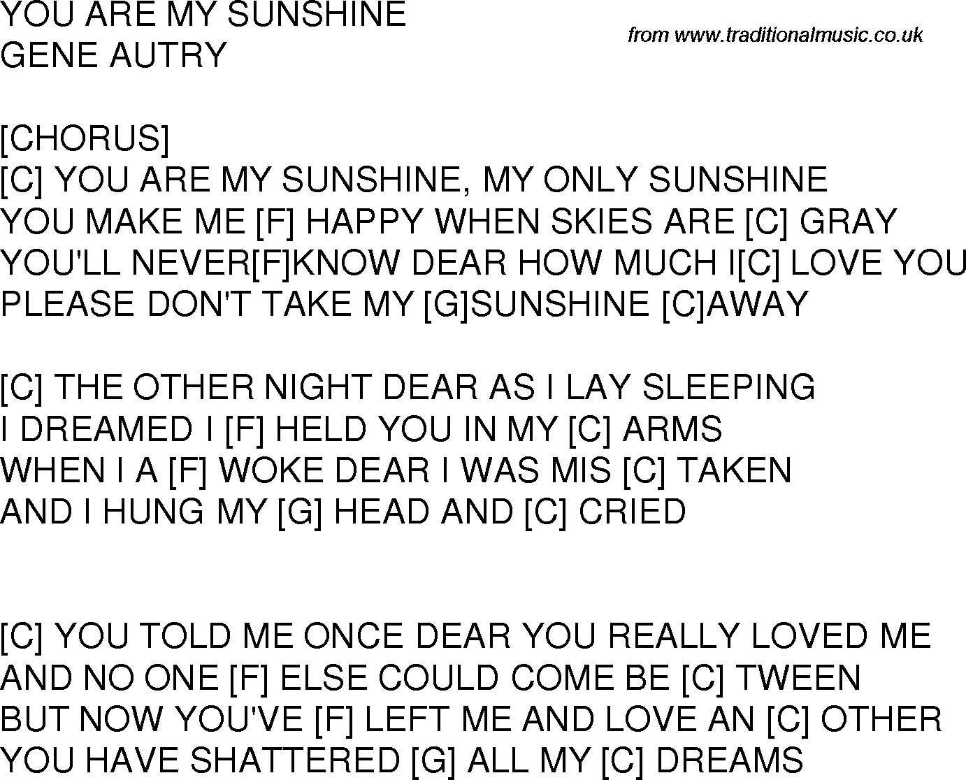 Old time song lyrics with guitar chords for You Are My Sunshine C
