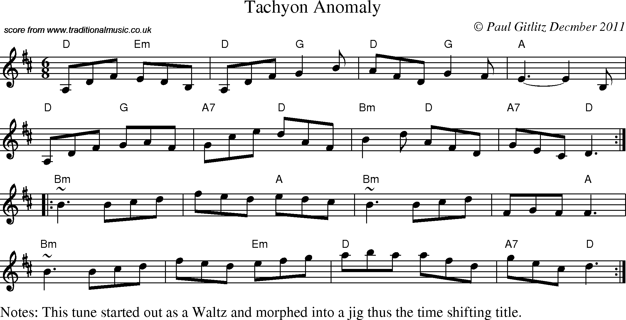 Traditional style tunes from Paul Gitlitz: Jig - Tachyon Anomaly