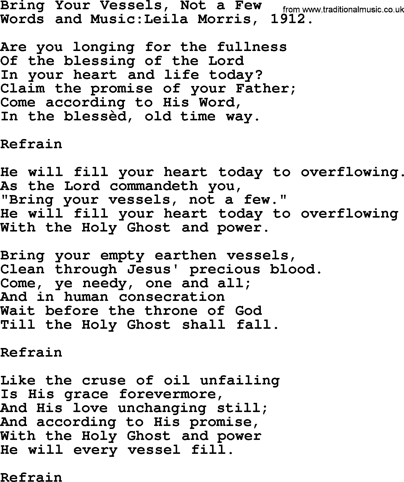 Pentacost Hymns Hymn Bring Your Vessels Not A Few Lyrics With Pdf