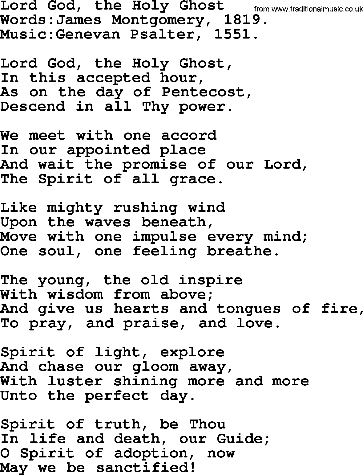 Pentecost Hymns, Song: Lord God, The Holy Ghost - lyrics and PDF