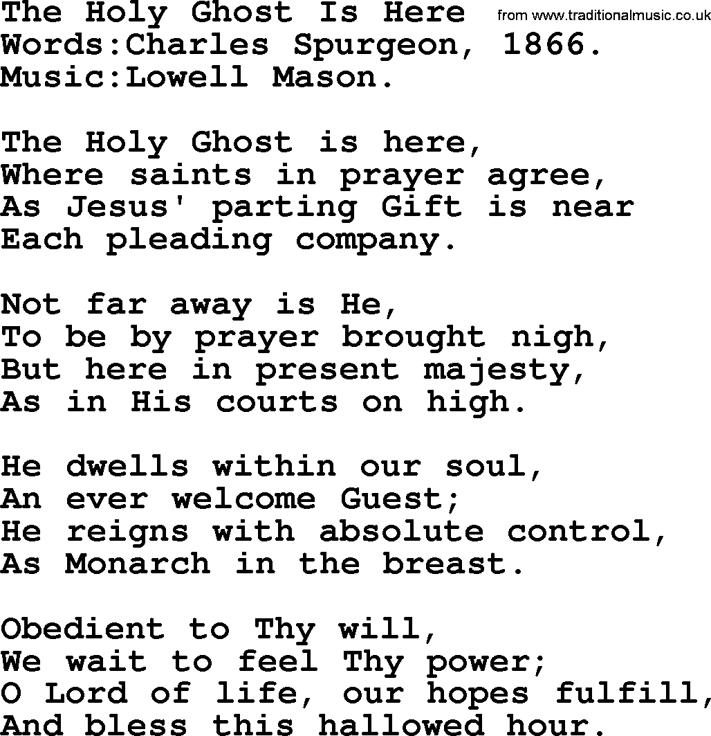 Pentecost Hymns, Song: The Holy Ghost Is Here - lyrics and PDF