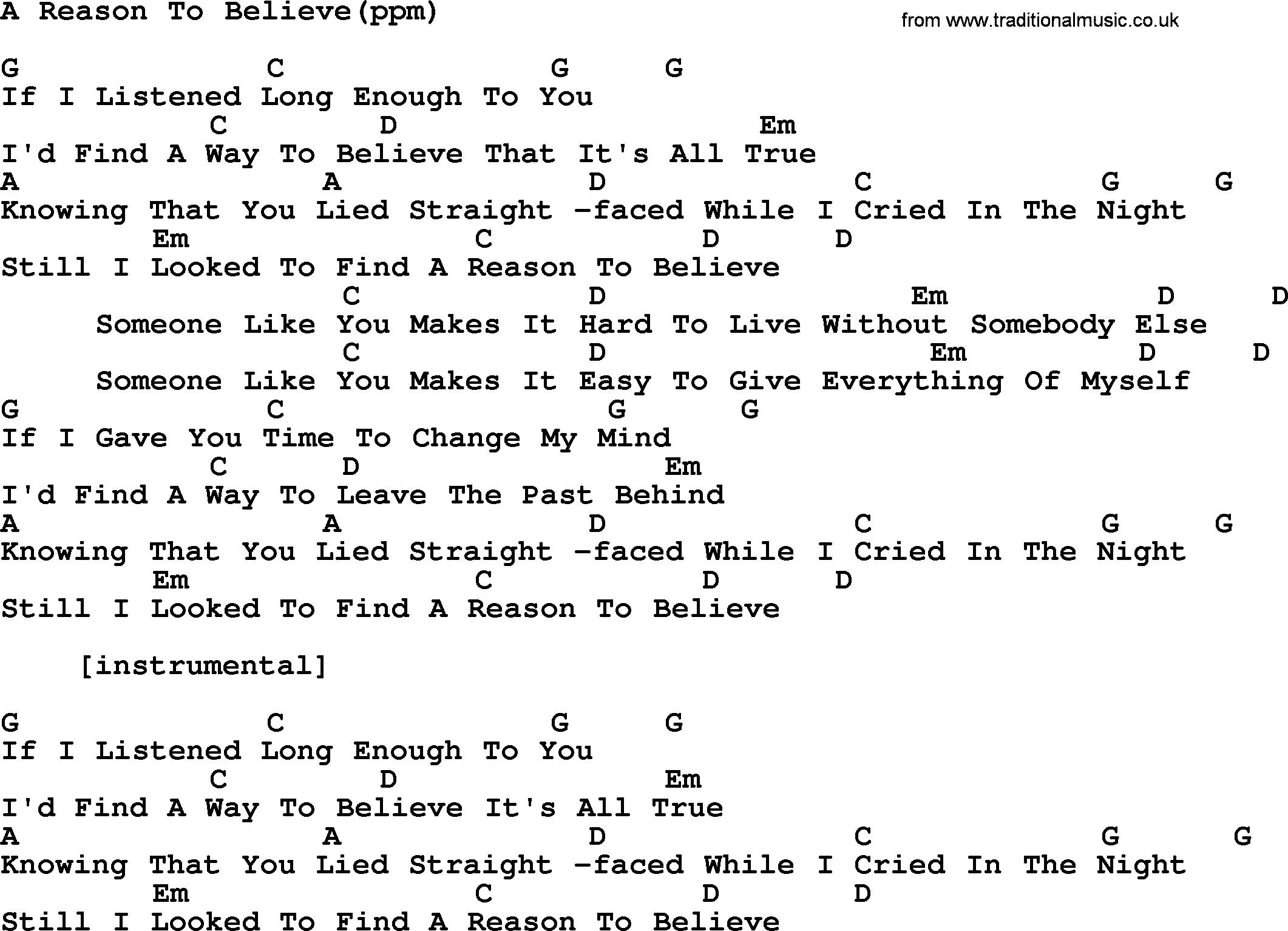 peter paul and mary song a reason to believe lyrics and chords peter paul and mary song a reason to believe lyrics and chords