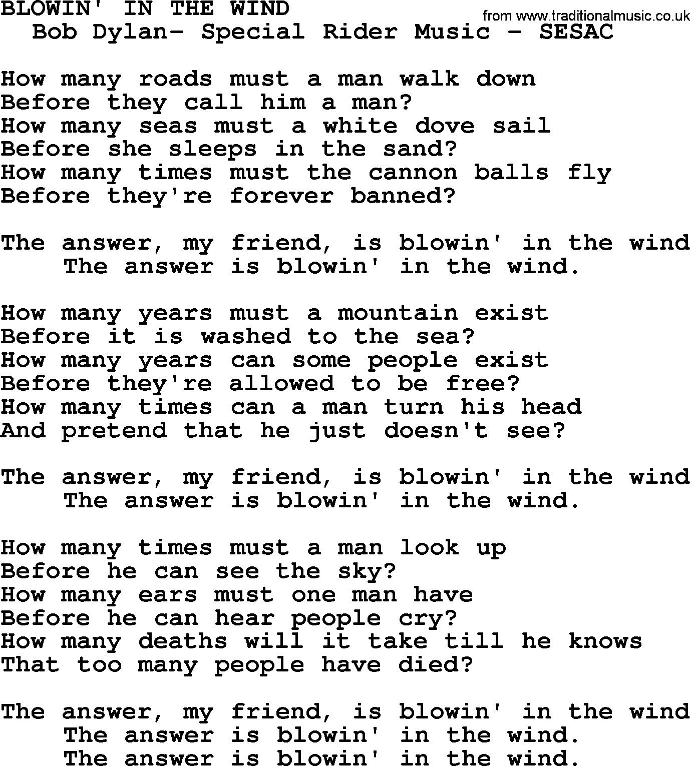Peter, Paul And Mary Song: Blowin In The Wind, Lyrics