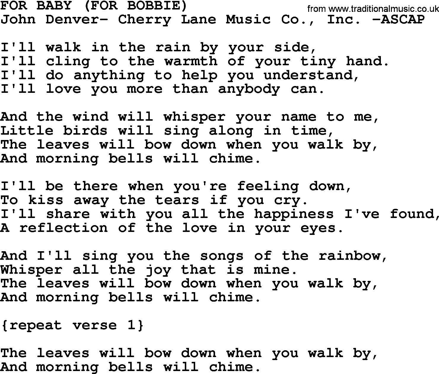 Peter, Paul and Mary song: For Baby (for Bobbie), lyrics