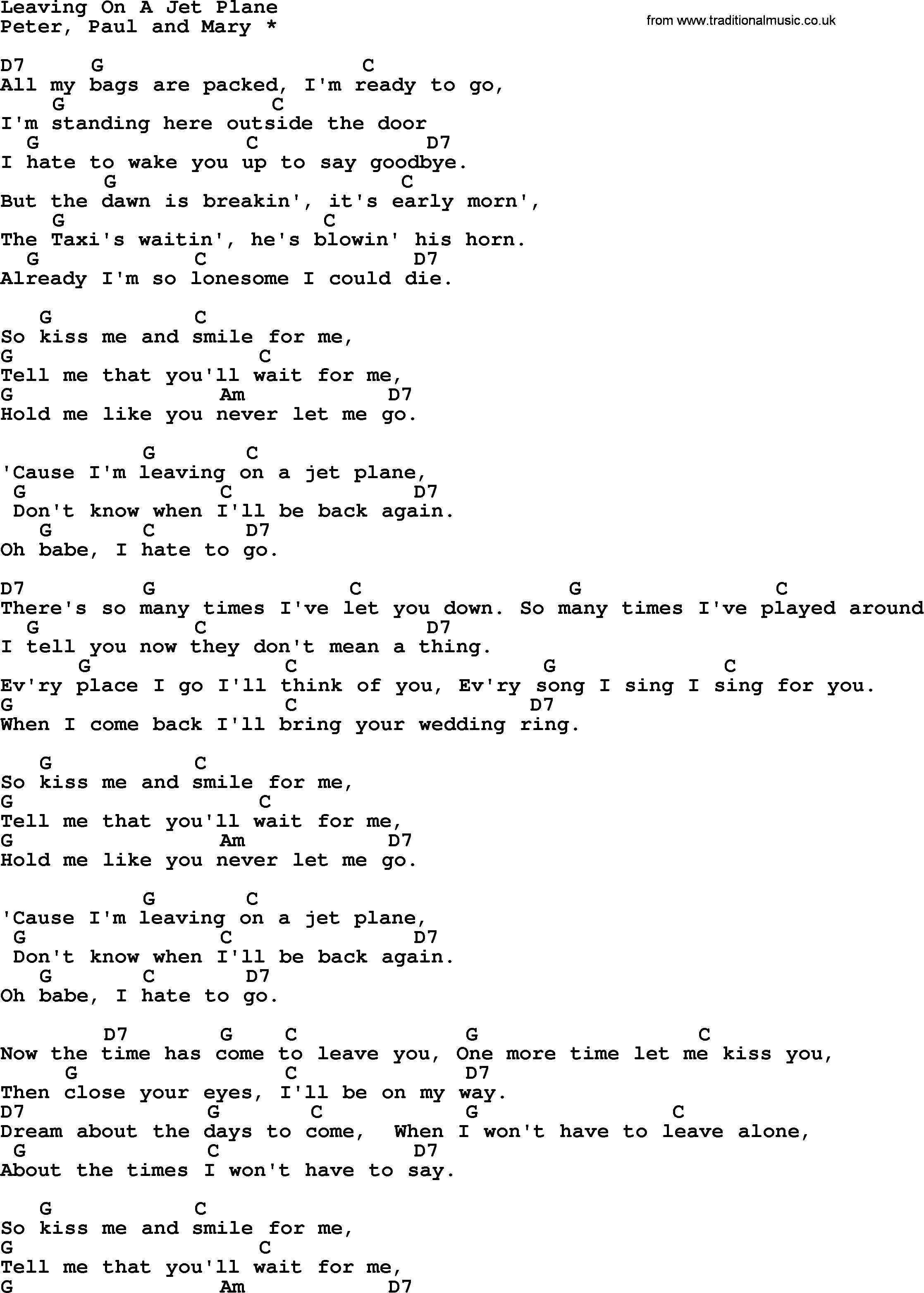 Peter paul and mary song leaving on a jet plane ver2 lyrics and peter paul and mary song leaving on a jet plane ver2 lyrics and chords hexwebz Gallery