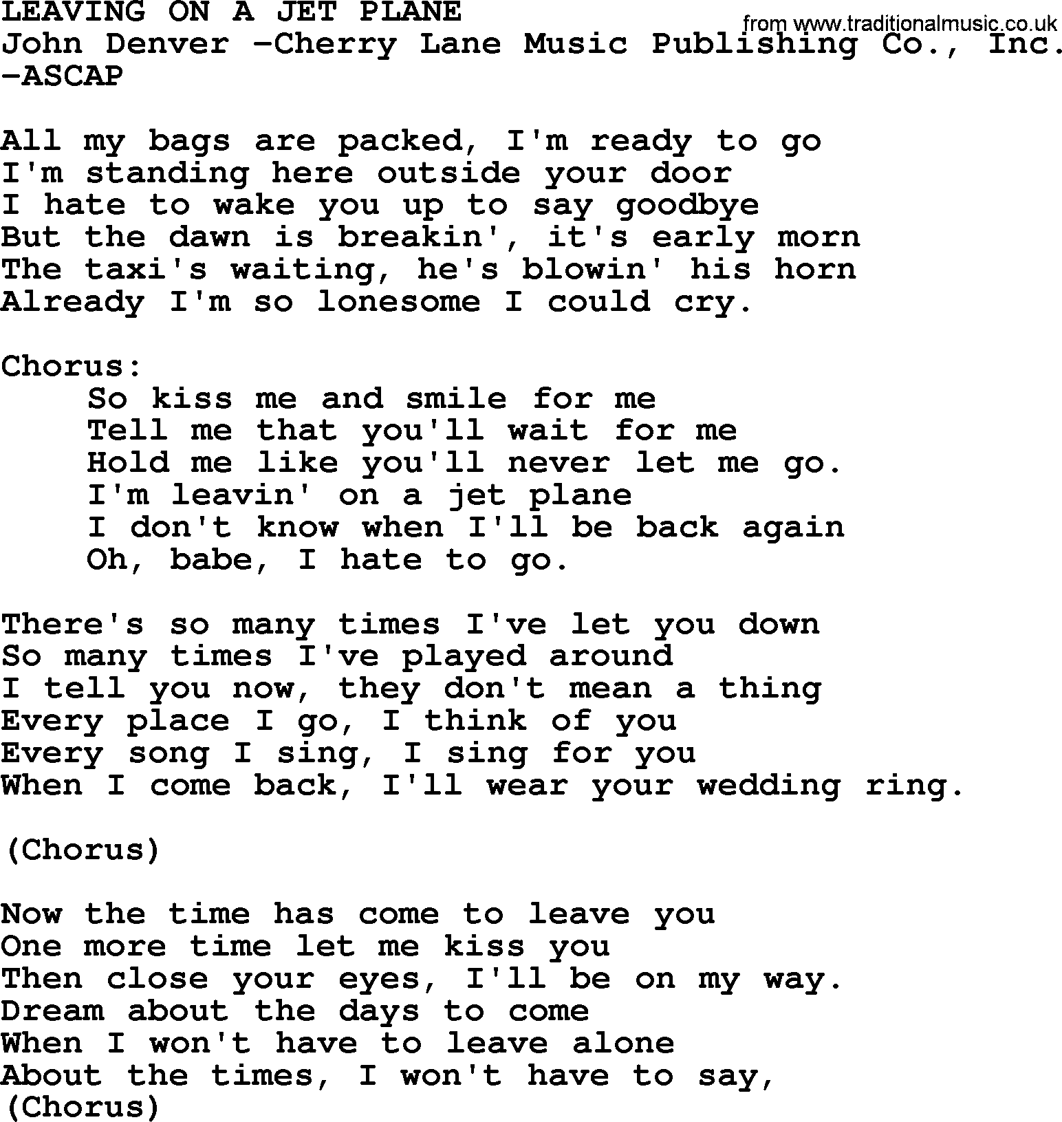 Peter paul and mary song leaving on a jet plane lyrics peter paul and mary song leaving on a jet plane lyrics hexwebz Gallery