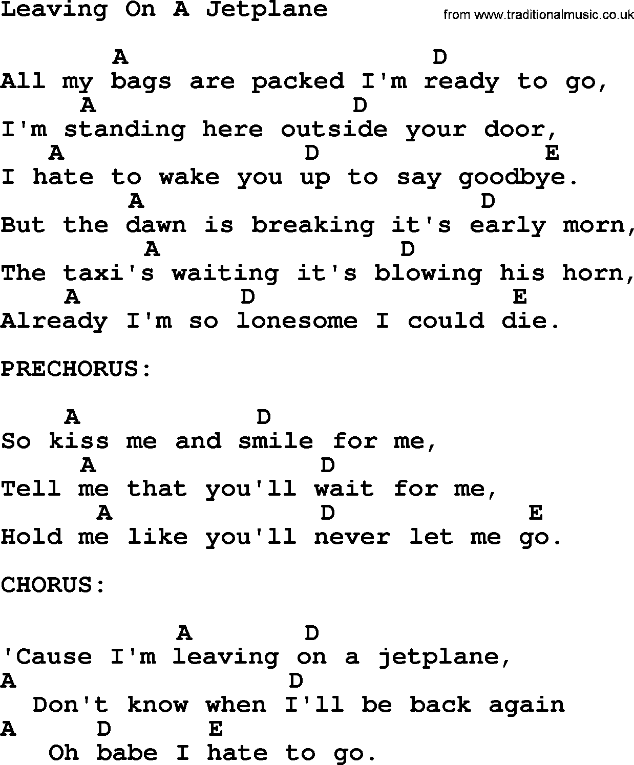 Peter paul and mary song leaving on a jetplane lyrics and chords peter paul and mary song leaving on a jetplane lyrics and chords hexwebz Gallery