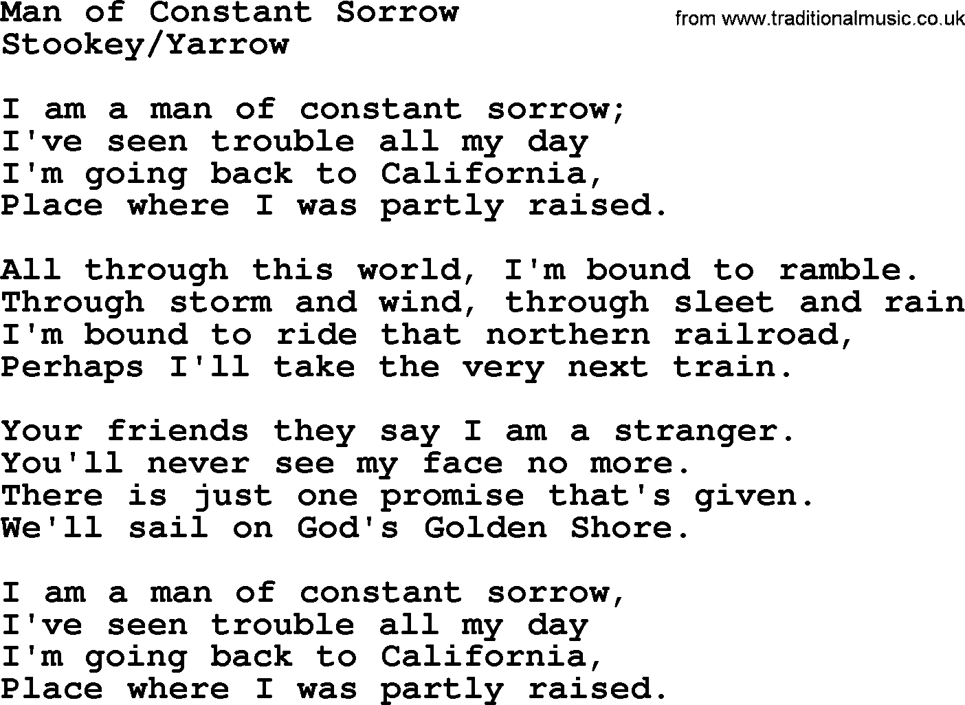 Peter Paul And Mary Song Man Of Constant Sorrow Lyrics