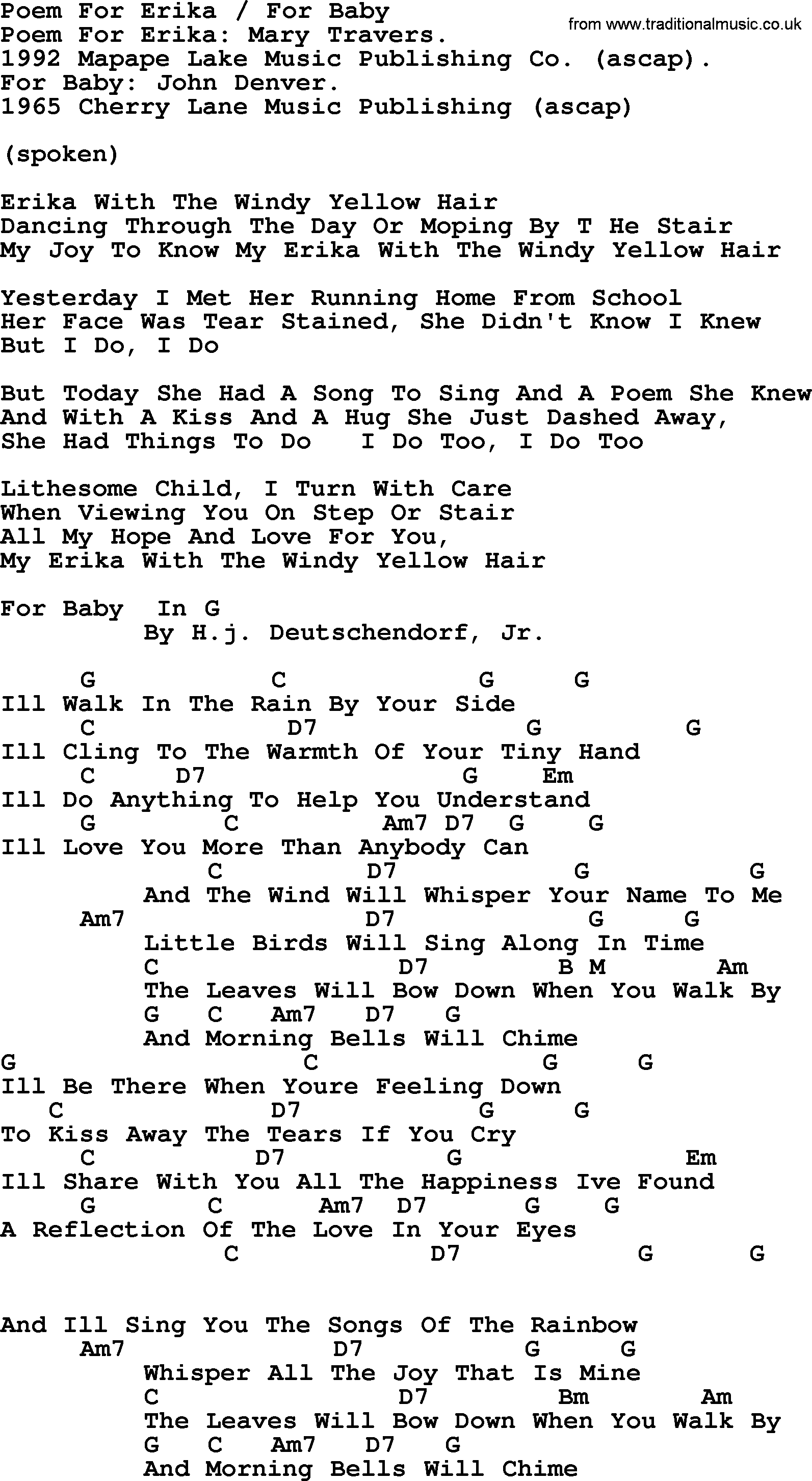 Peter paul and mary song poem for erika and for baby lyrics and peter paul and mary song poem for erika and for baby lyrics and chords hexwebz Choice Image