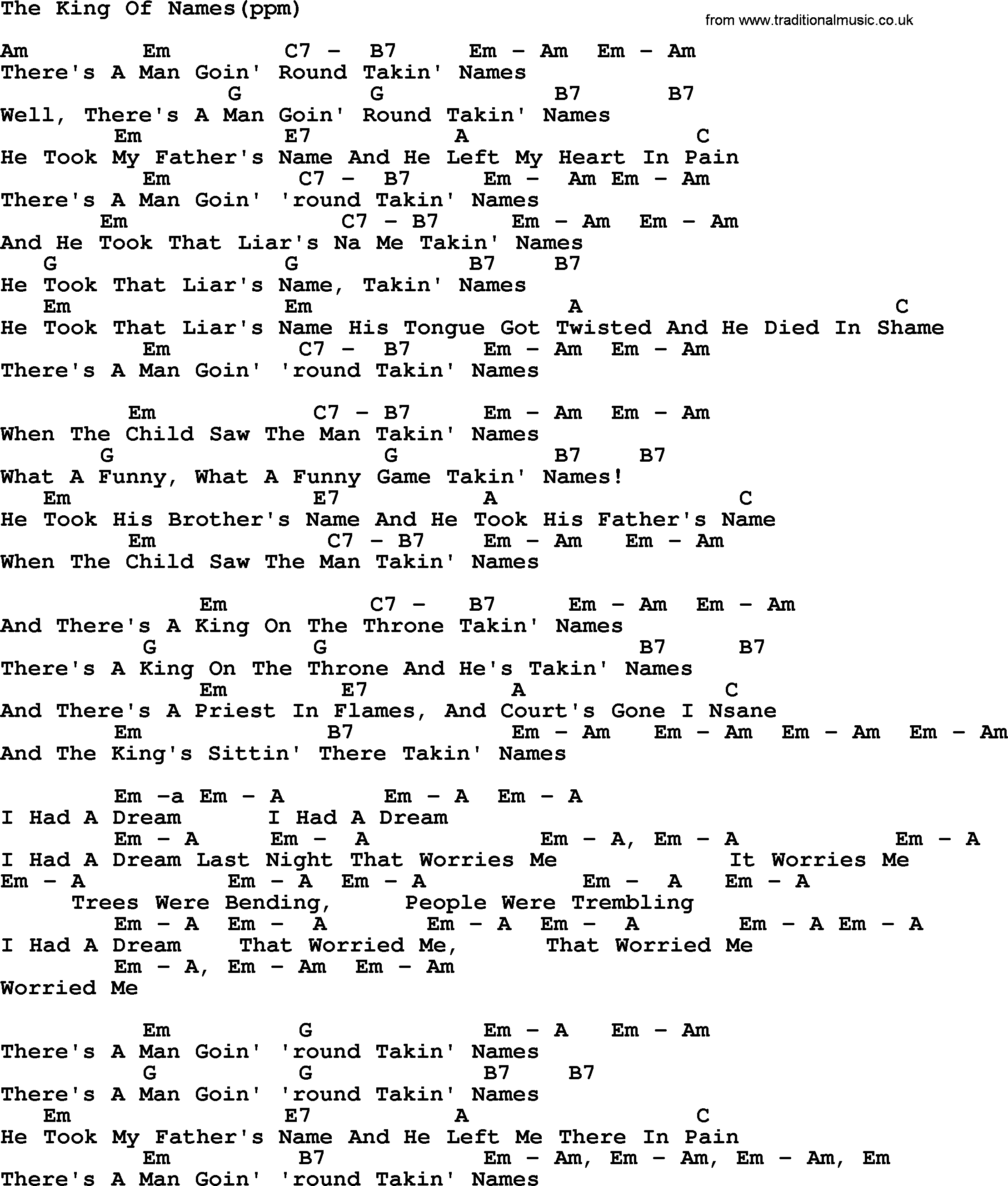 Peter, Paul and Mary song The King Of Names, lyrics and chords