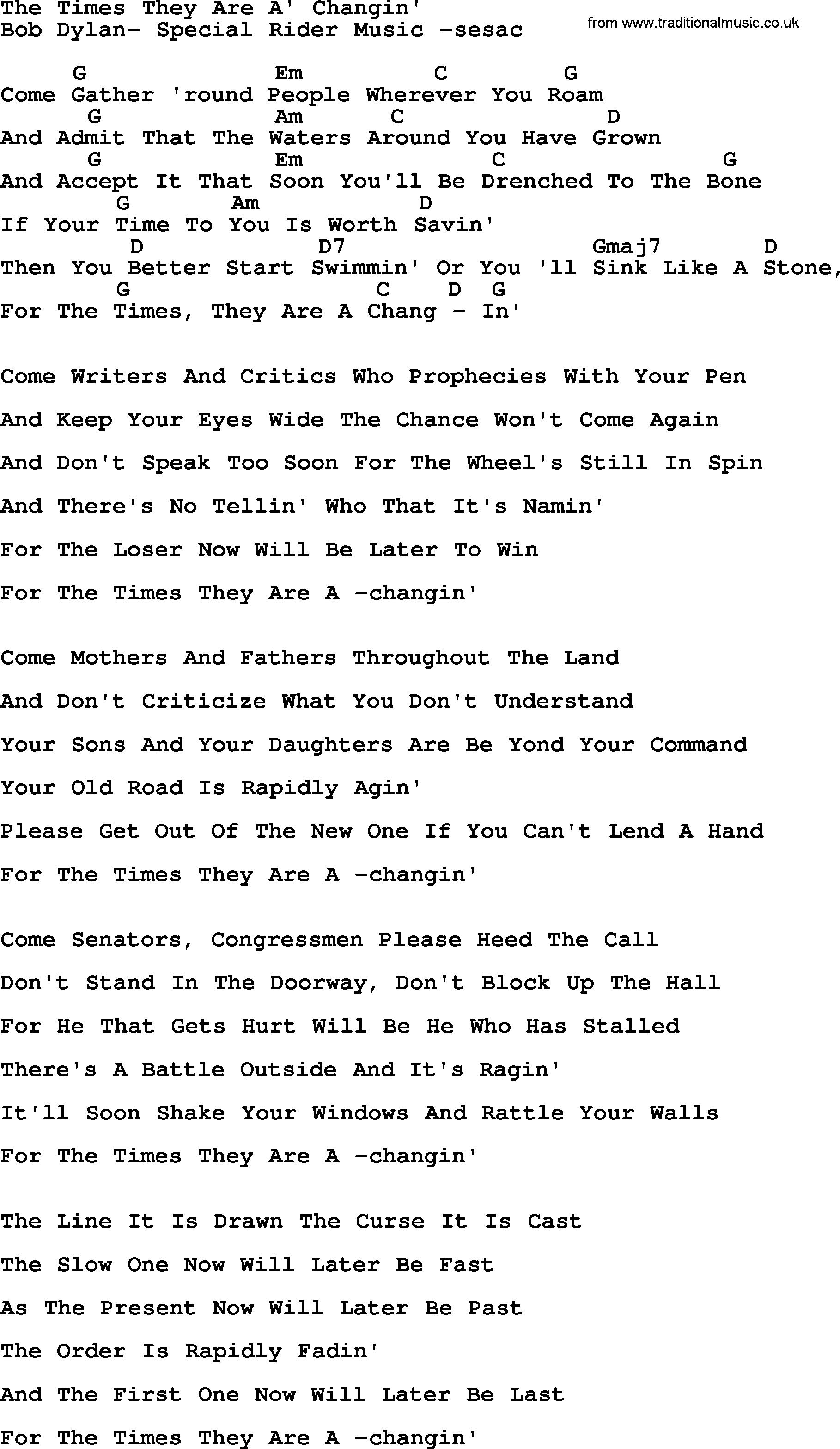 the times they are changing lyrics