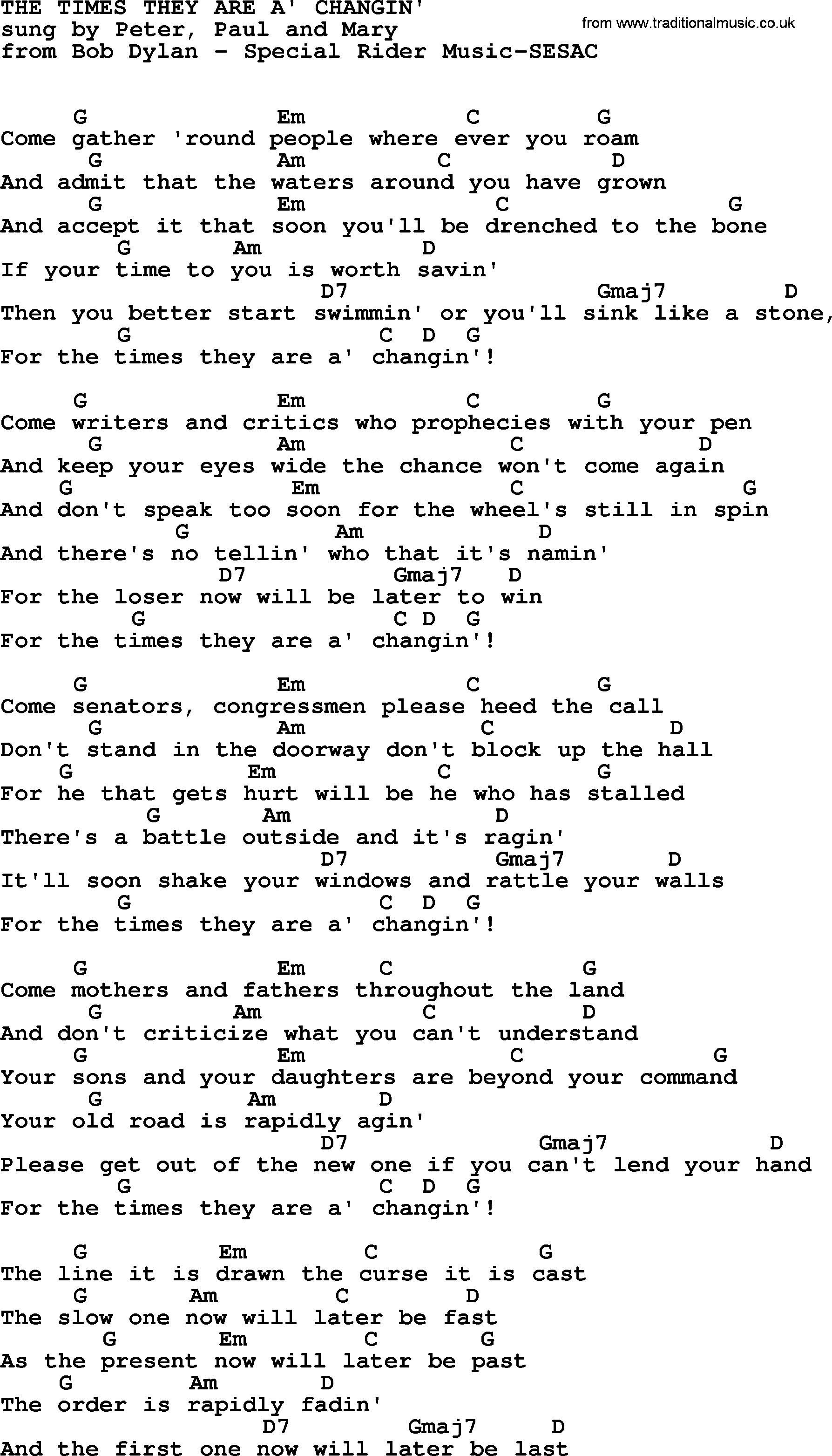 Peter paul and mary song the times they are a changing lyrics peter paul and mary song the times they are a changing lyrics and chords hexwebz Images