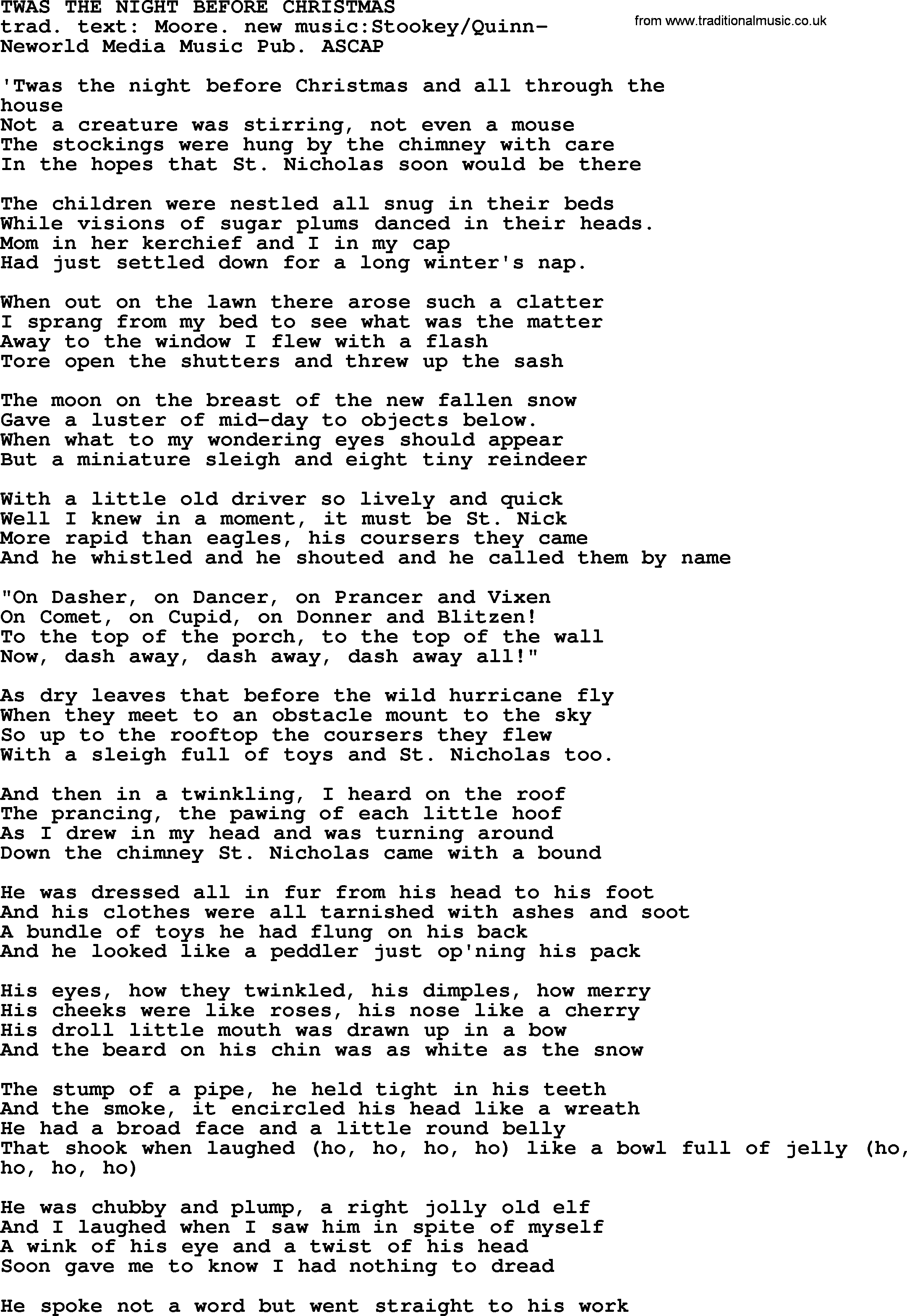 Peter, Paul and Mary song: Twas The Night Before Christmas, lyrics