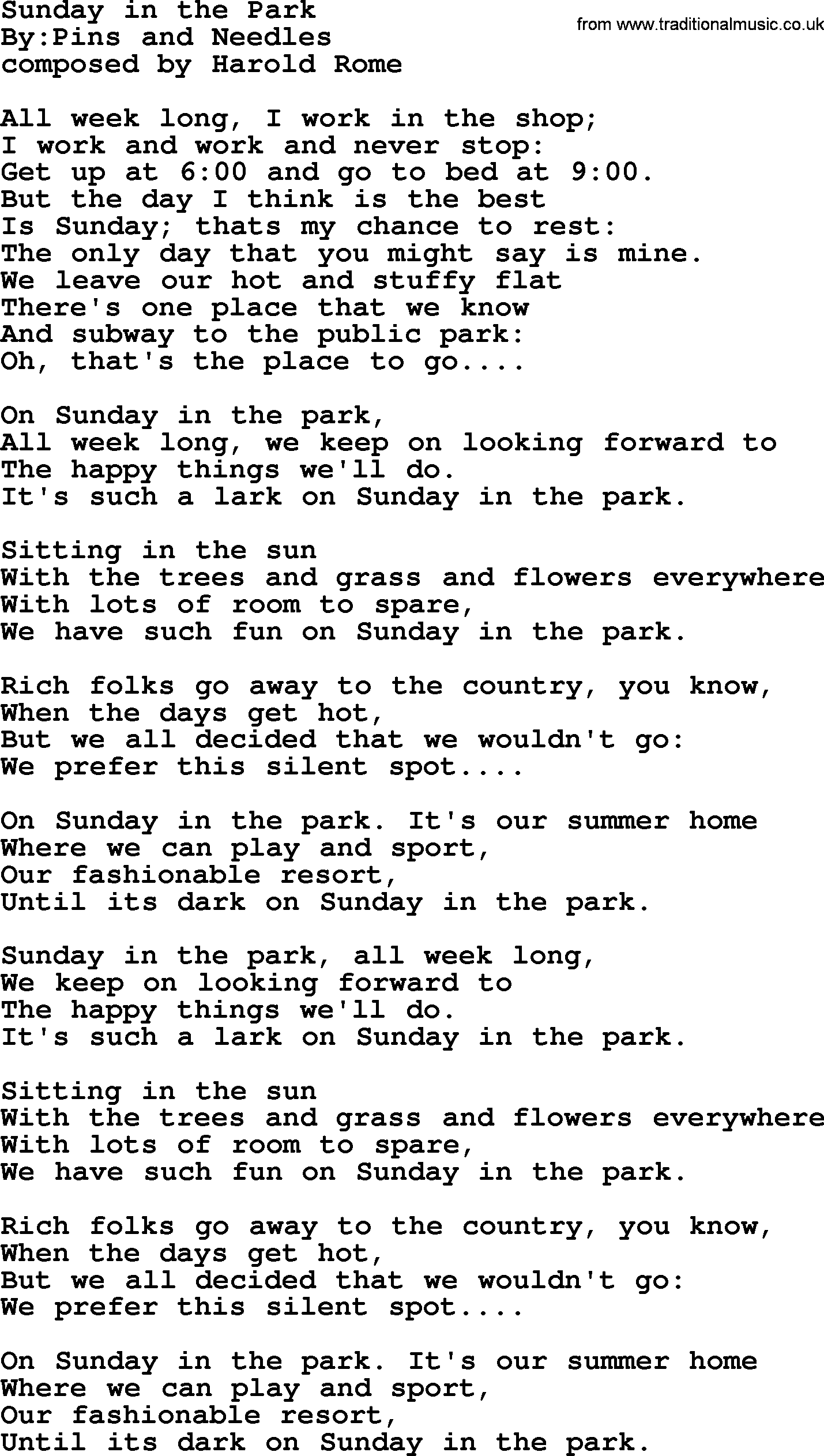 Sunday In The Park Political Solidarity Workers Or Union Song Lyrics