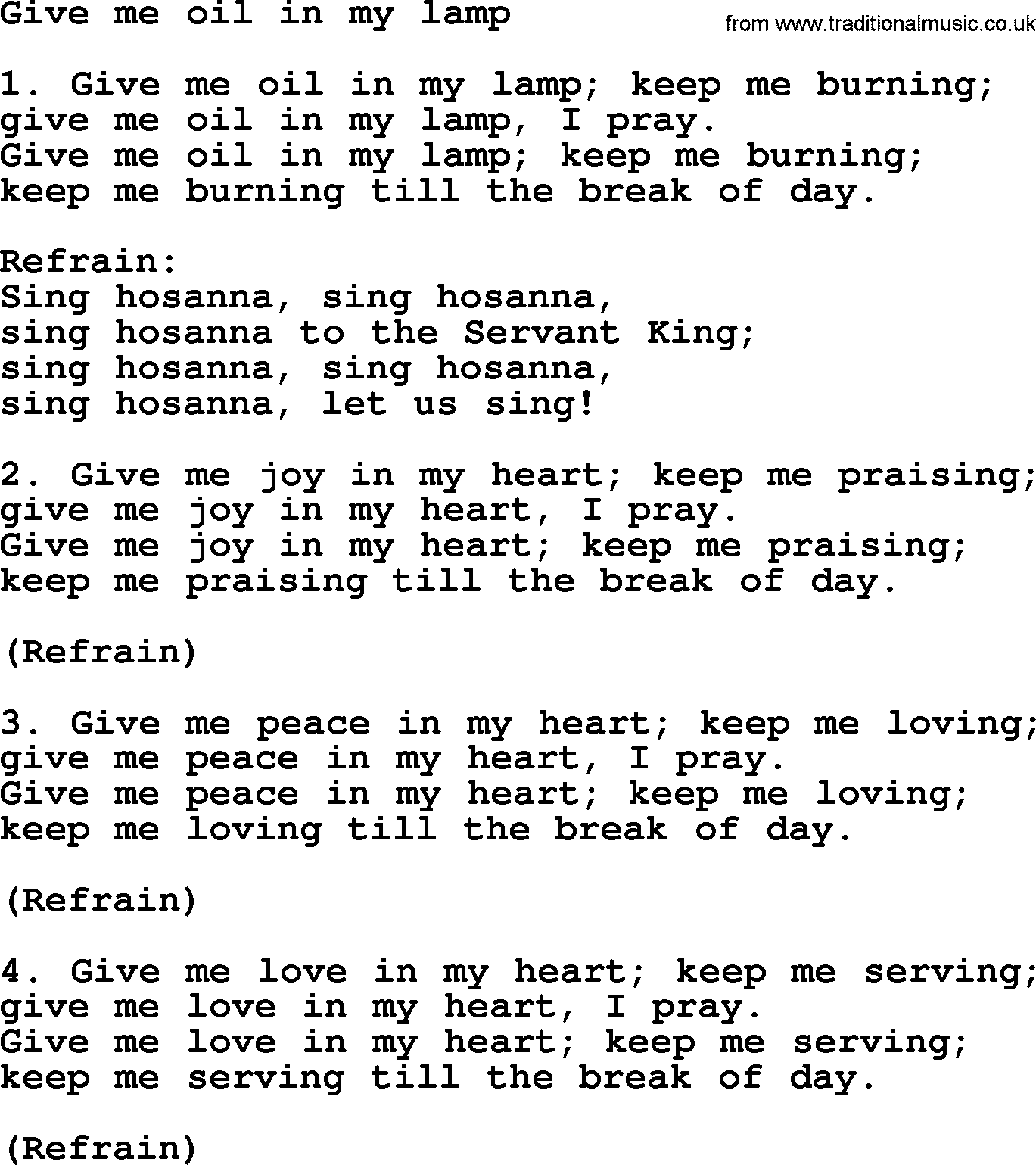 Presbyterian Hymns Collection, Hymn: Give Me Oil In My Lamp, Lyrics And PDF