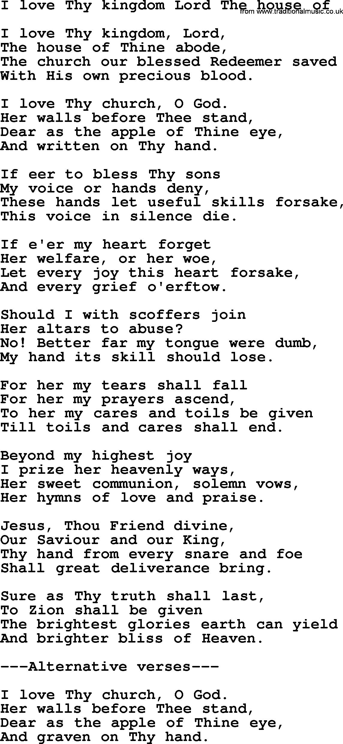 Presbyterian Hymn I Love Thy Kingdom Lord The House lyrics