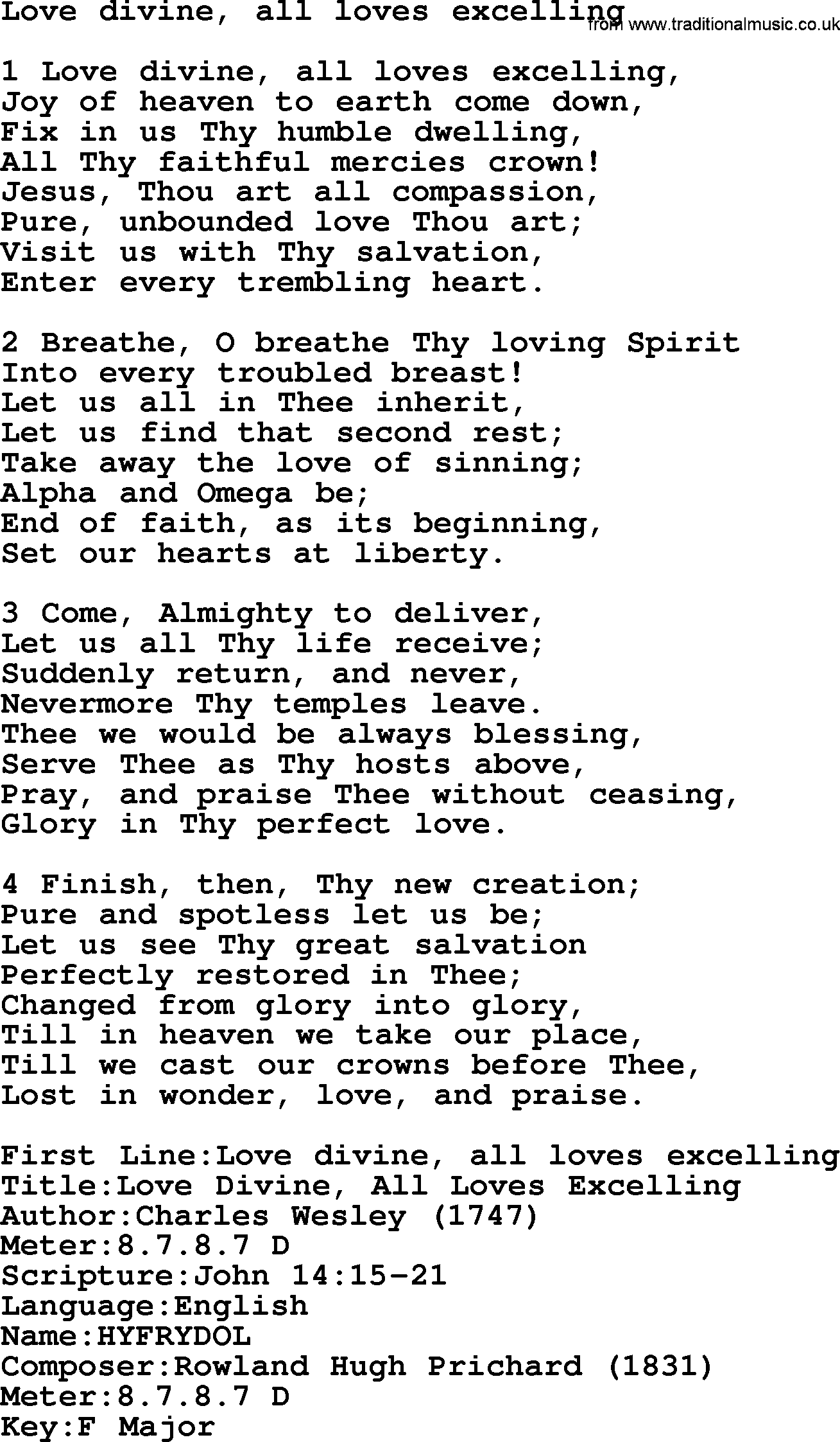 presbyterian hymn love divine all loves excelling lyrics and pdf presbyterian hymns collection hymn love divine all loves excelling lyrics and pdf