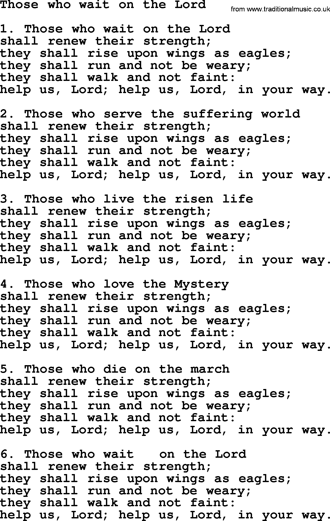 But they that wait upon the lord lyrics
