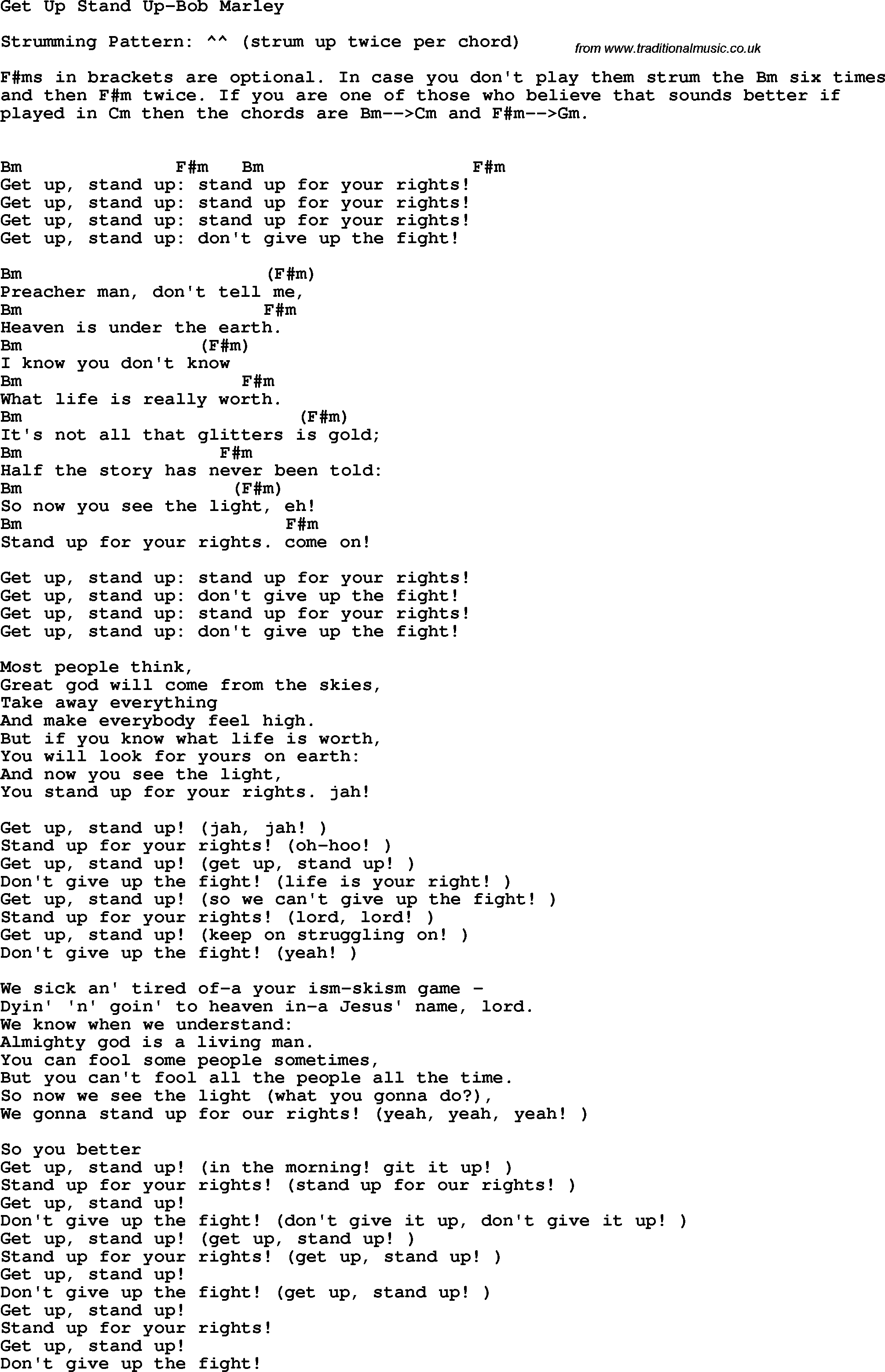 Protest Song Get Up Stand Up Bob Marley Lyrics And Chords
