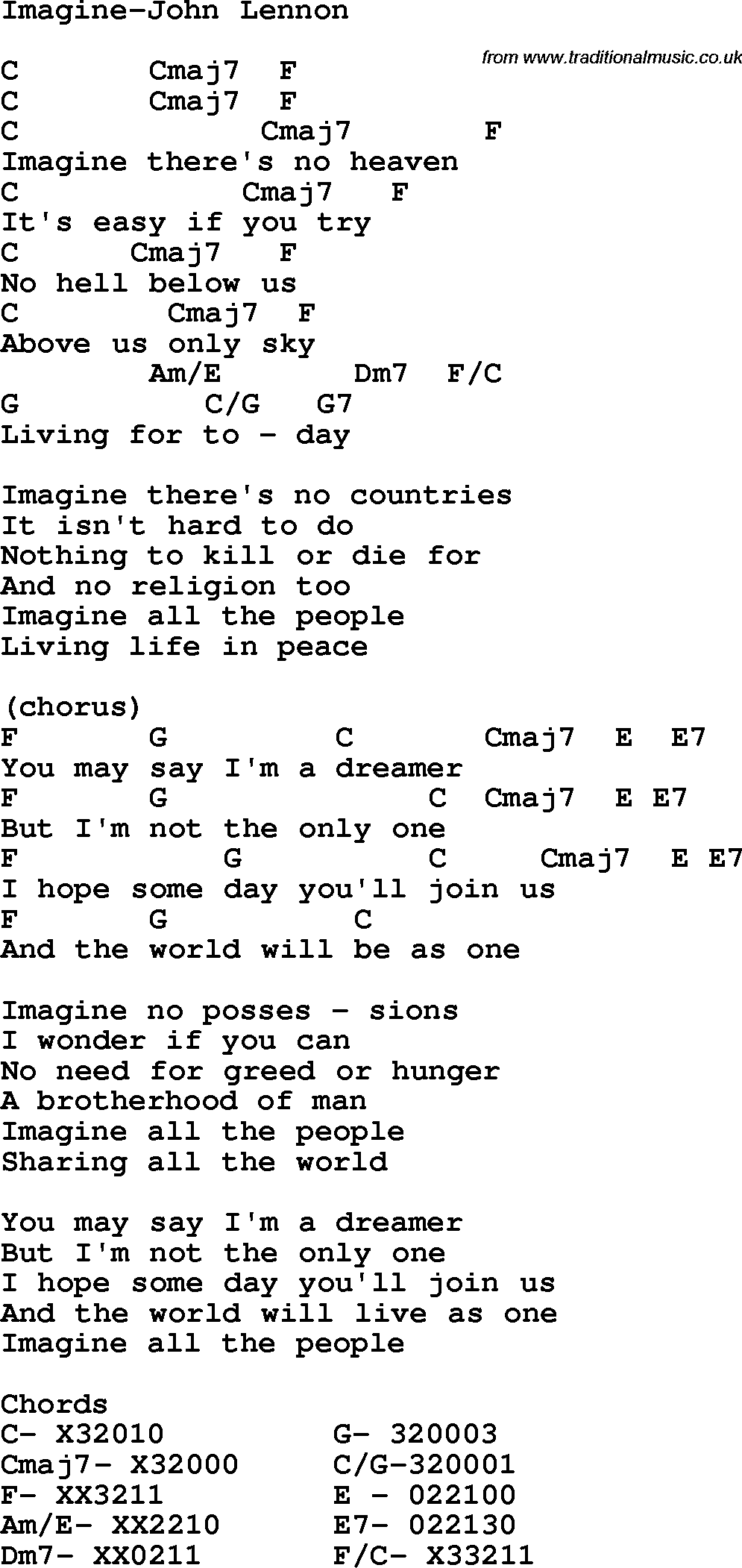 Protest Song Imagine John Lennon Lyrics And Chords
