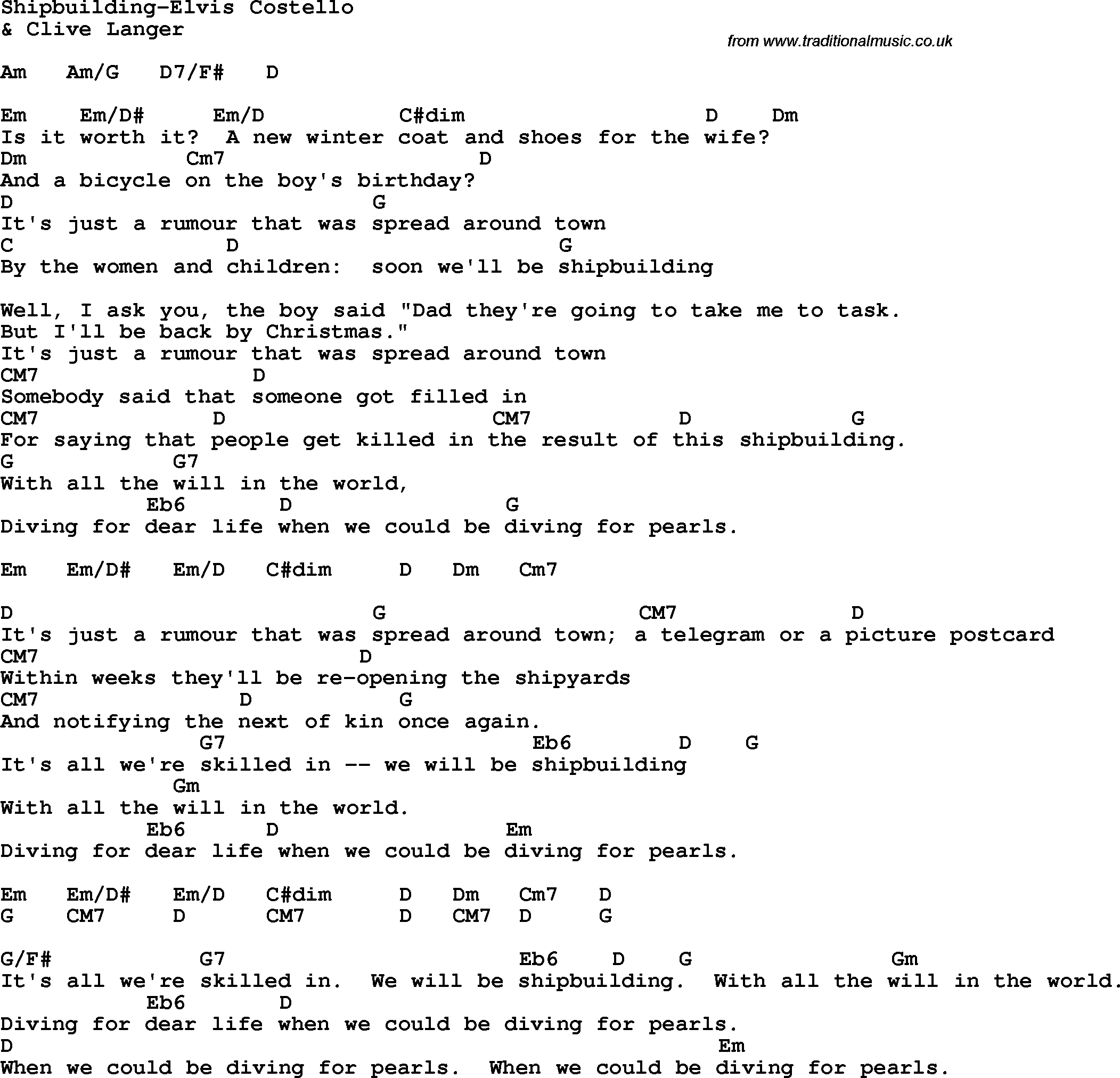 Opinions on Shipbuilding (song)