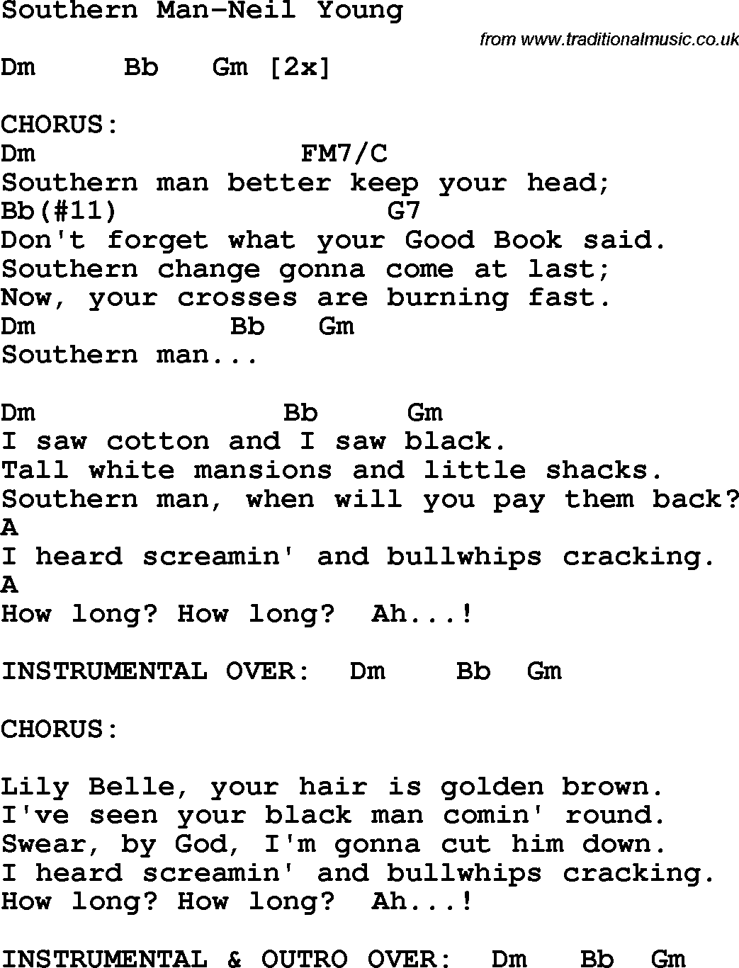 Protest song southern man neil young lyrics and chords protest song southern man neil young lyrics and chords hexwebz Image collections