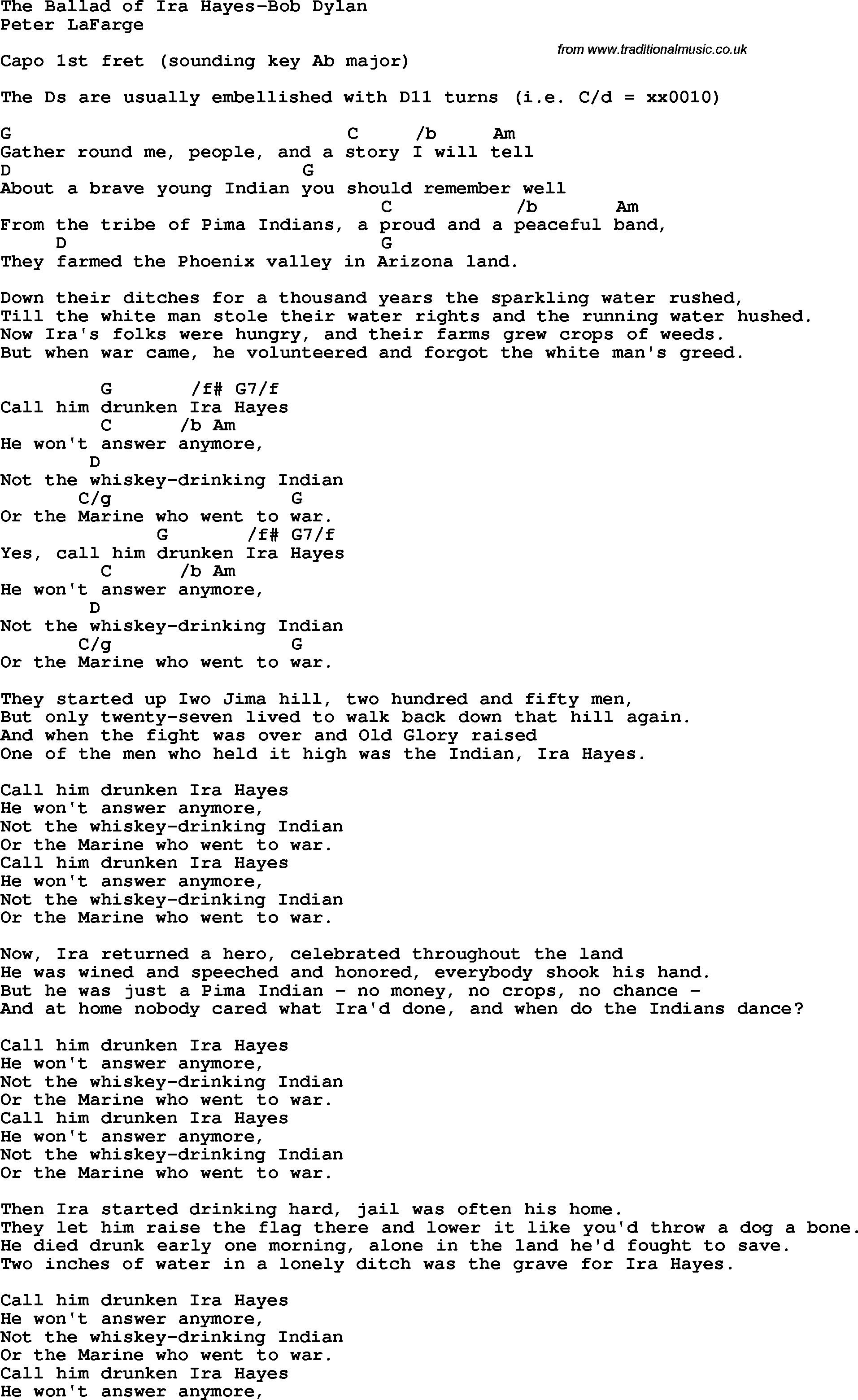 Protest song: The Ballad Of Ira Hayes-Bob Dylan lyrics and chords