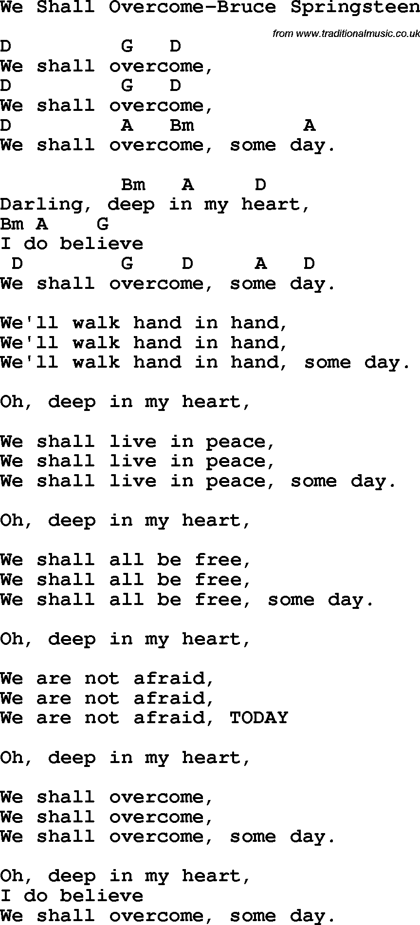 Protest song we shall overcome bruce springsteen lyrics and chords protest song we shall overcome bruce springsteen lyrics and chords hexwebz Image collections