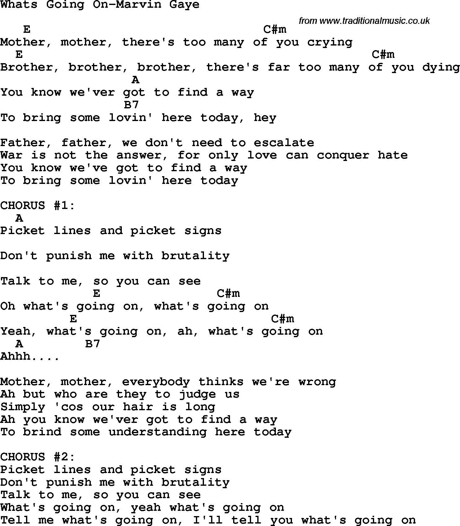 Marvin Gaye - Whats Going On Lyrics MetroLyrics