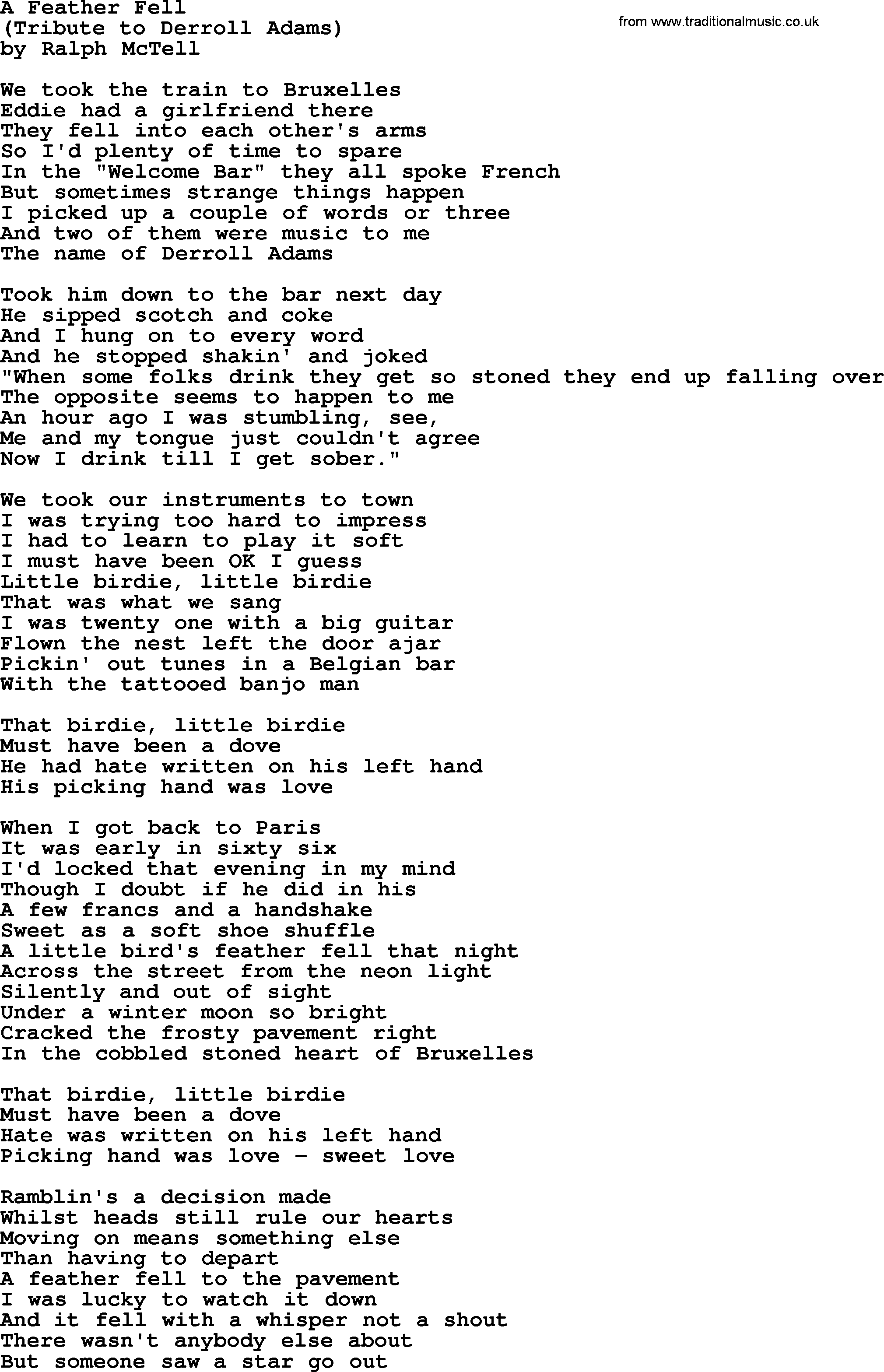 A feather felltxt by ralph mctell lyrics and chords ralph mctell song a feather fell lyrics hexwebz Image collections