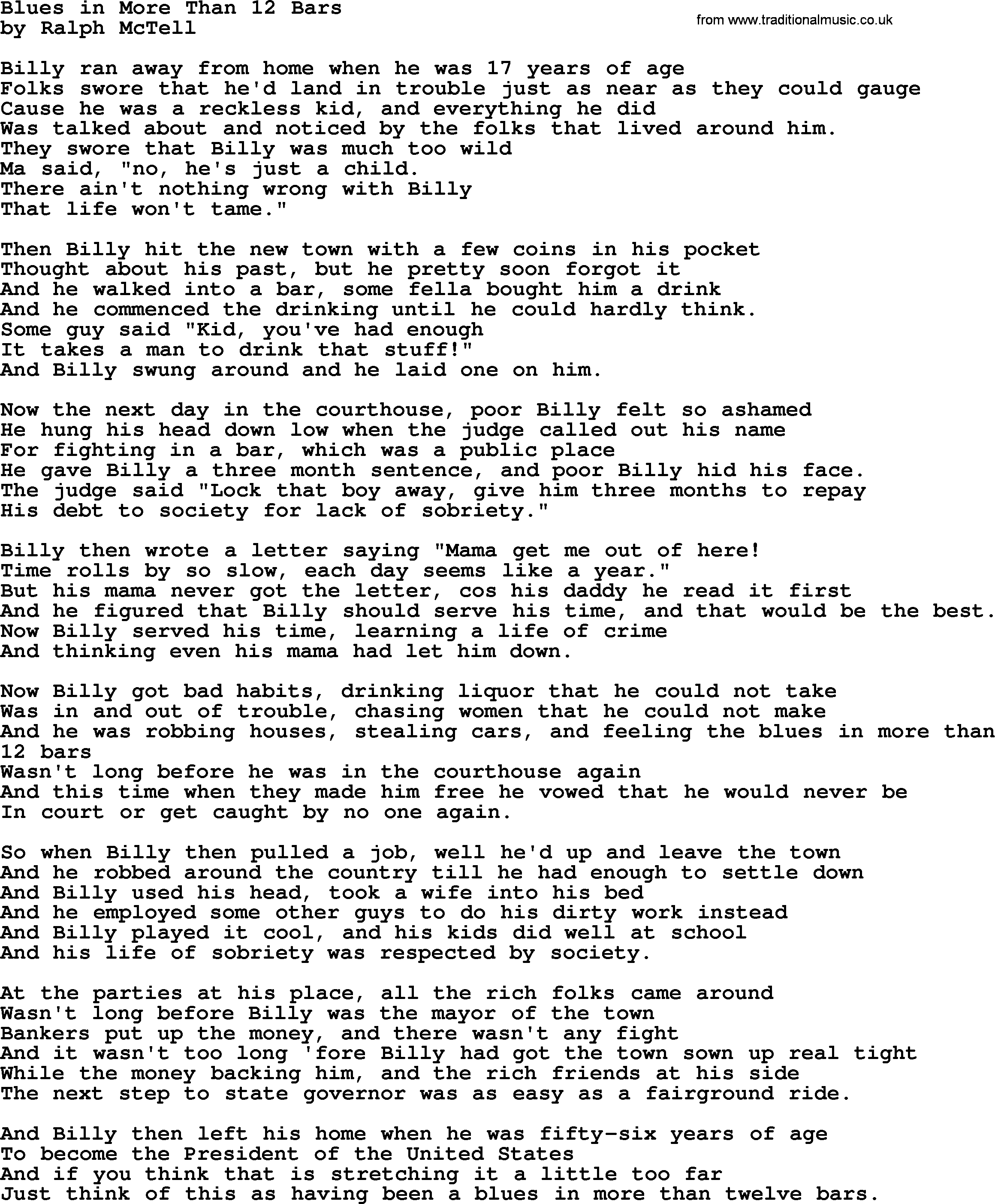 Blues In More Than 12 Barstxt by Ralph McTell lyrics and chords