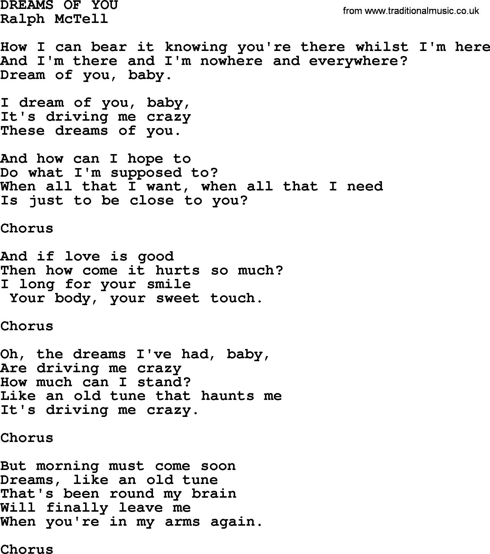 Dreams Of You Txt By Ralph Mctell Lyrics And Chords