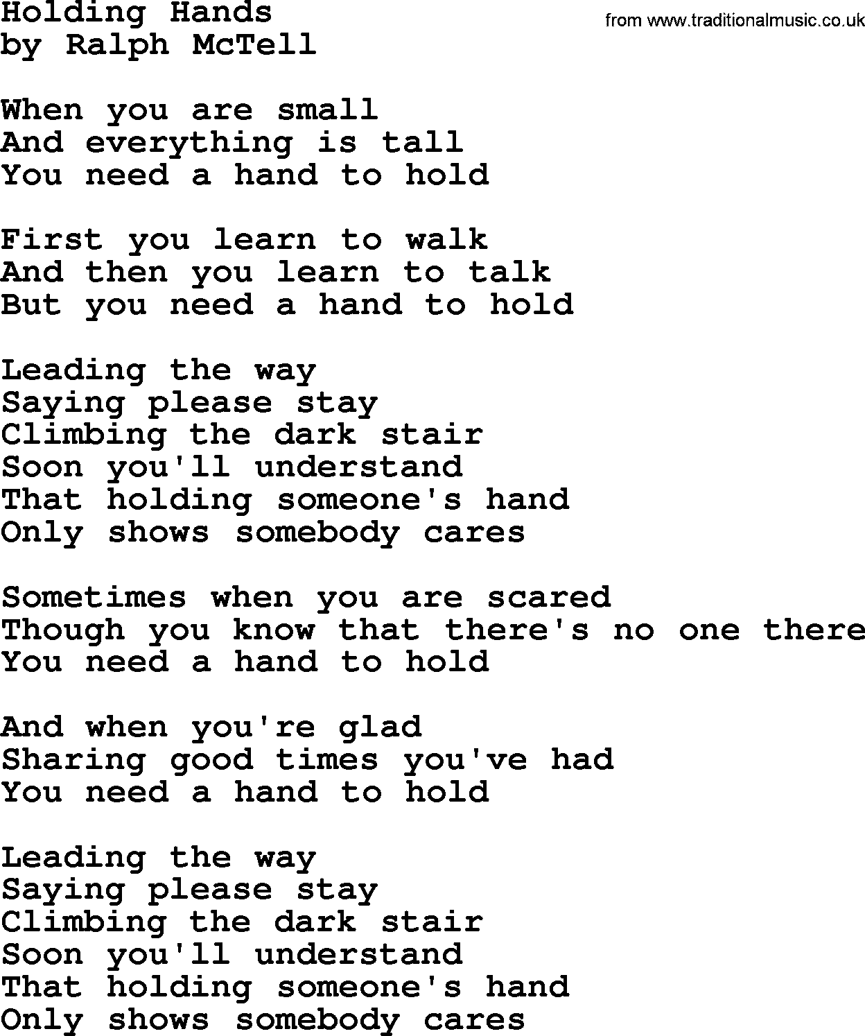 Holding Hands.txt - by Ralph McTell lyrics and chords