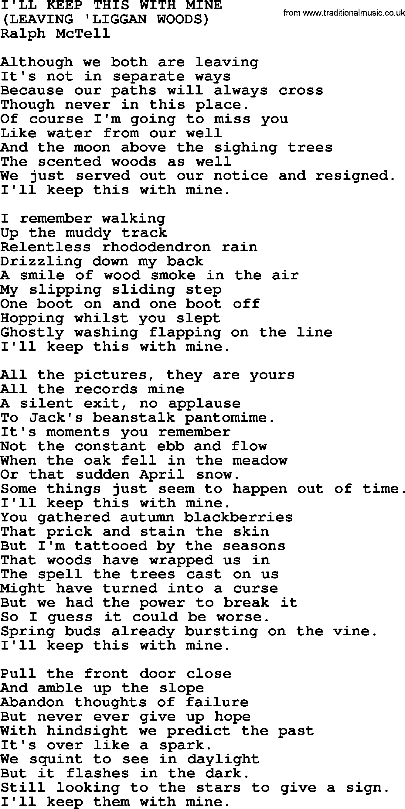 I\'ll Keep This With Mine.txt - by Ralph McTell lyrics and chords