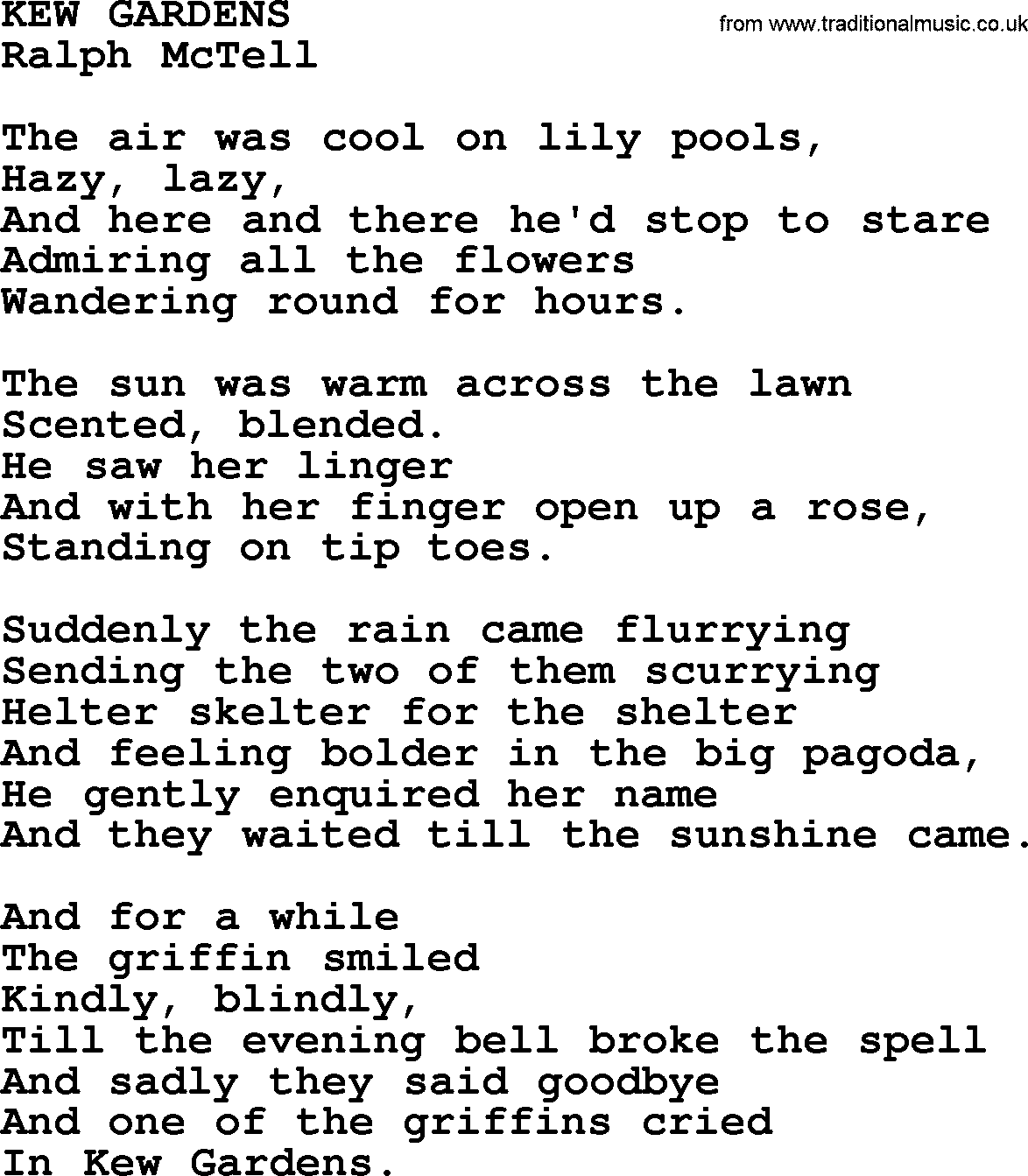 Kew gardenstxt by ralph mctell lyrics and chords ralph mctell song kew gardens lyrics hexwebz Image collections