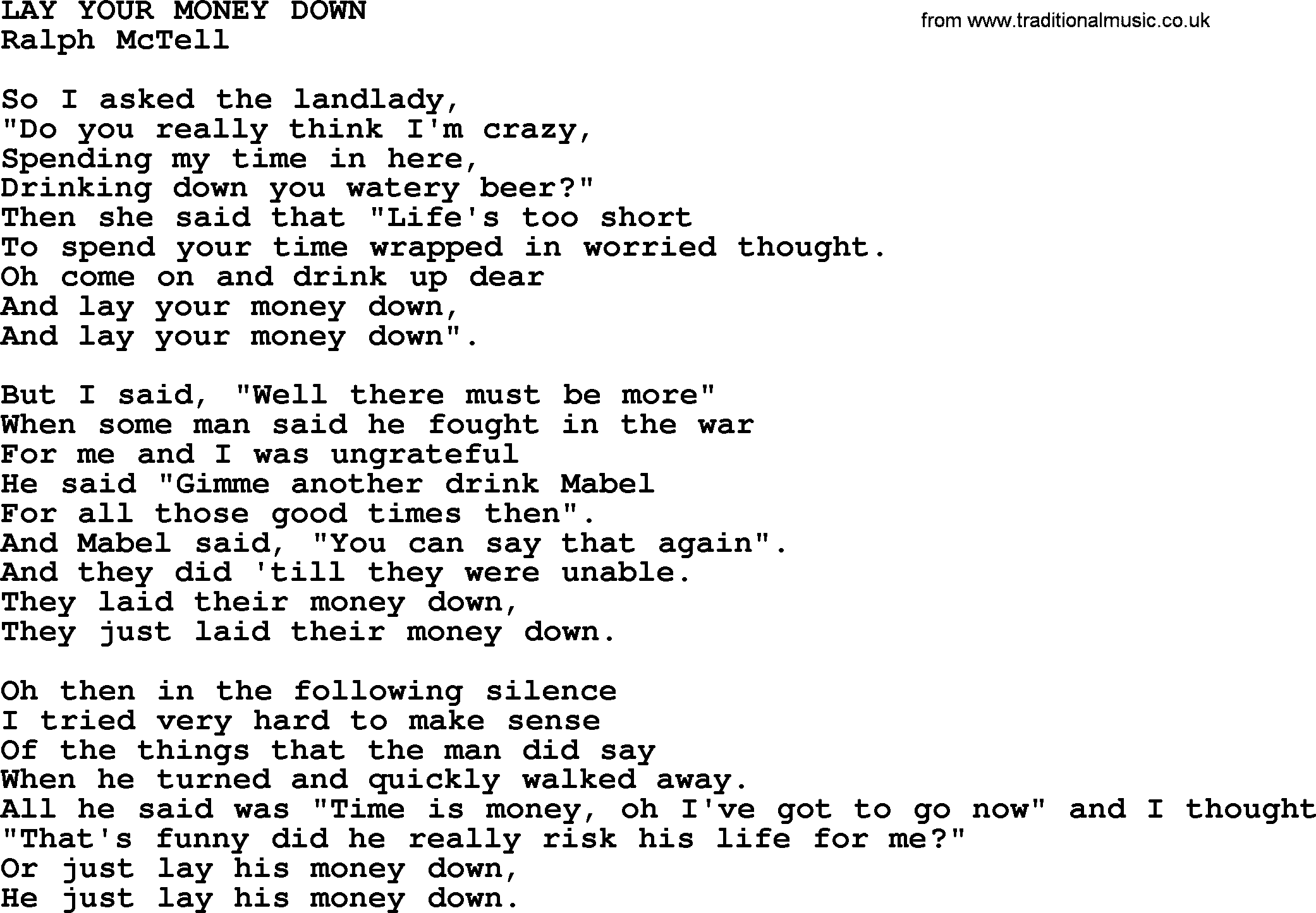 Lay Your Money Downtxt By Ralph Mctell Lyrics And Chords