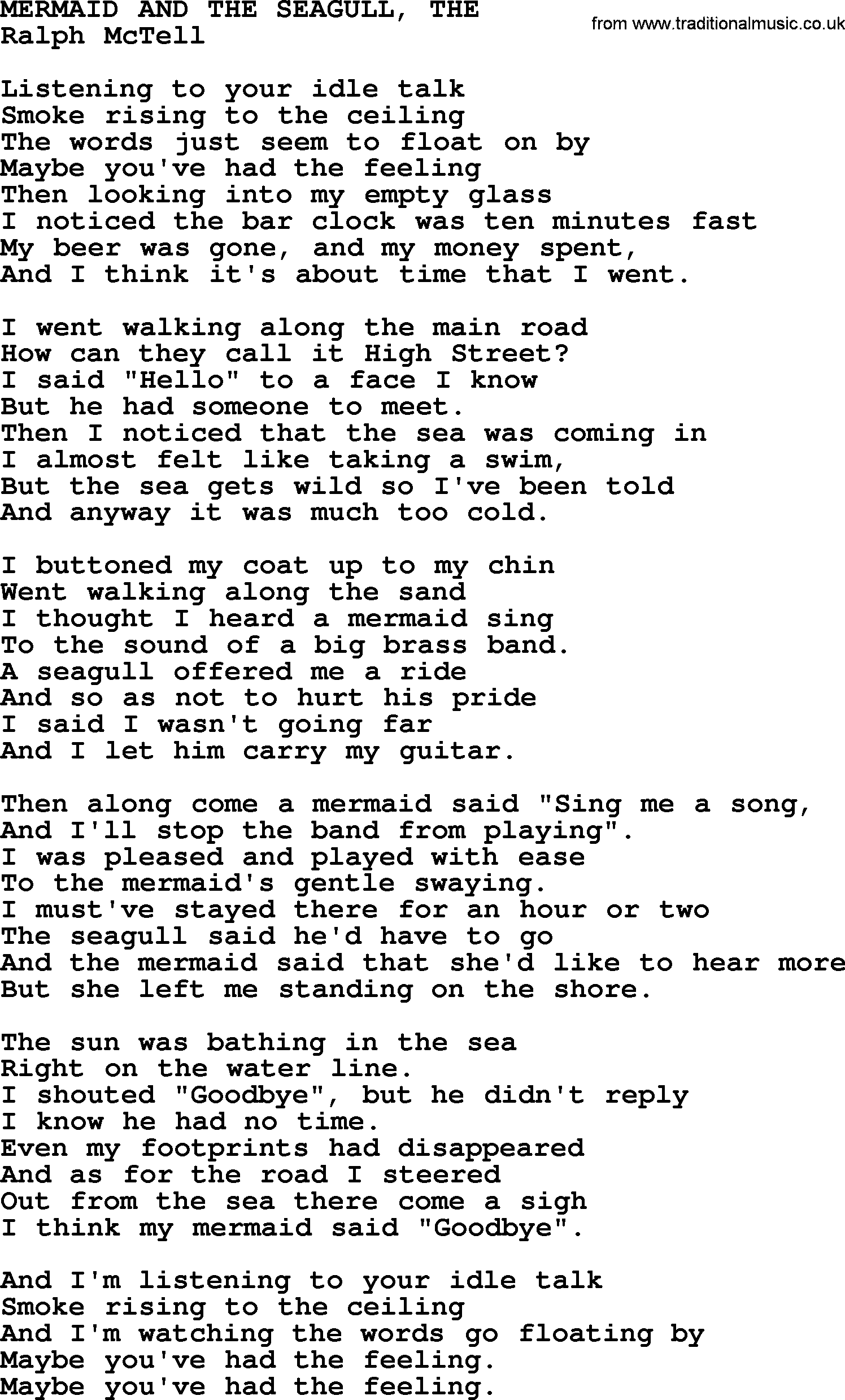 Mermaid and the seagull thetxt by ralph mctell lyrics and chords ralph mctell song mermaid and the seagull the lyrics hexwebz Image collections