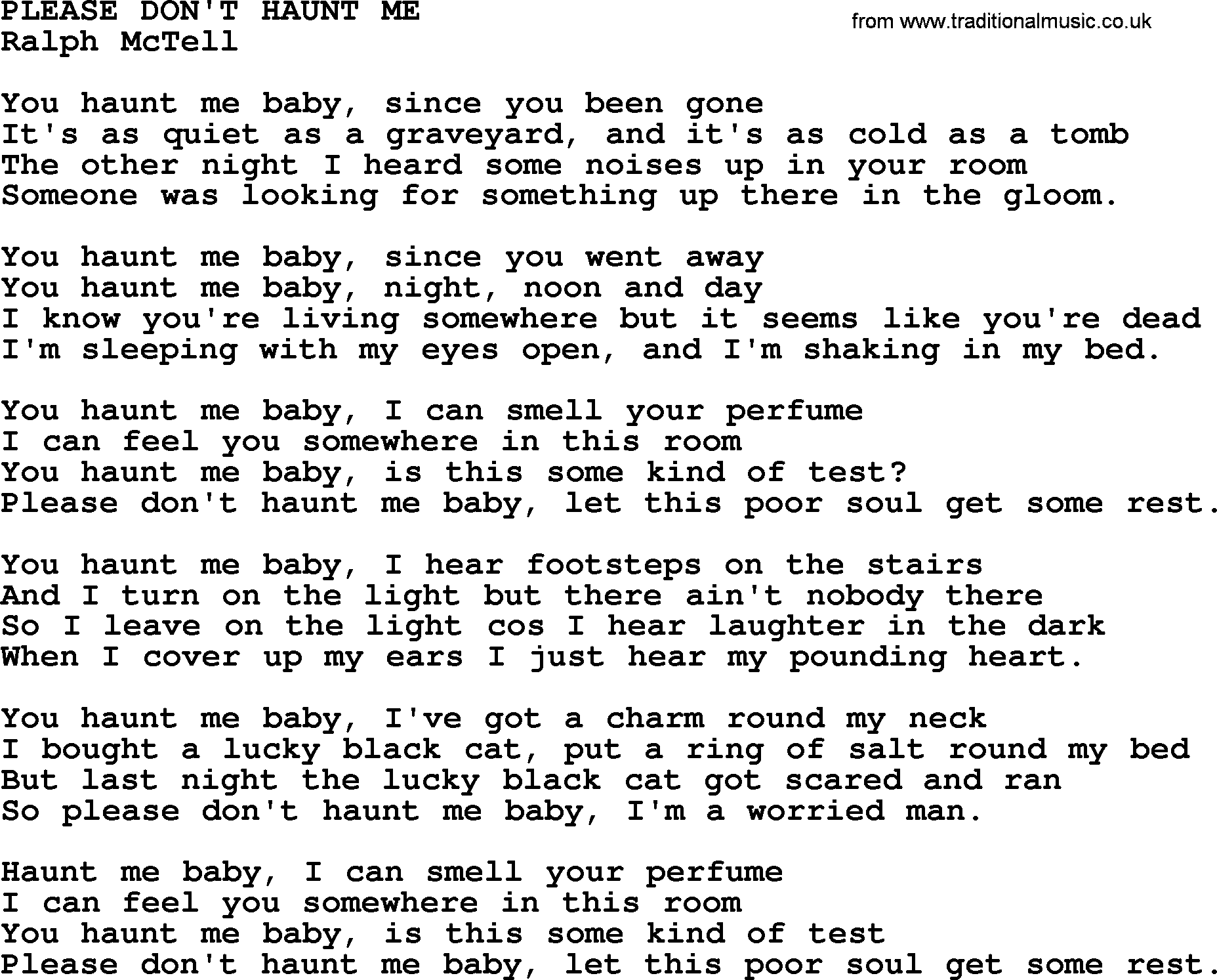 Ralph McTell Song Please Dont Haunt Me Lyrics